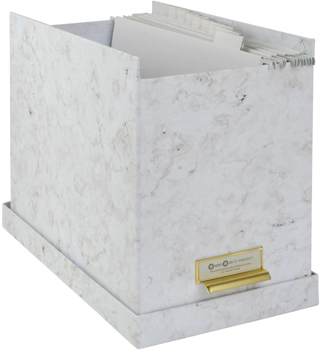 Hängeregister-Box Johan, 9-tlg., Organizer: Fester, laminierter Karto, Weiss, marmoriert, 19 x 27 cm