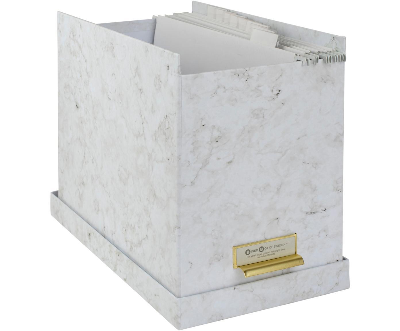 Registratiedoos Johan, 9-delig, Organizer: stevig gelamineerd karton, Gemarmerd wit, 19 x 27 cm