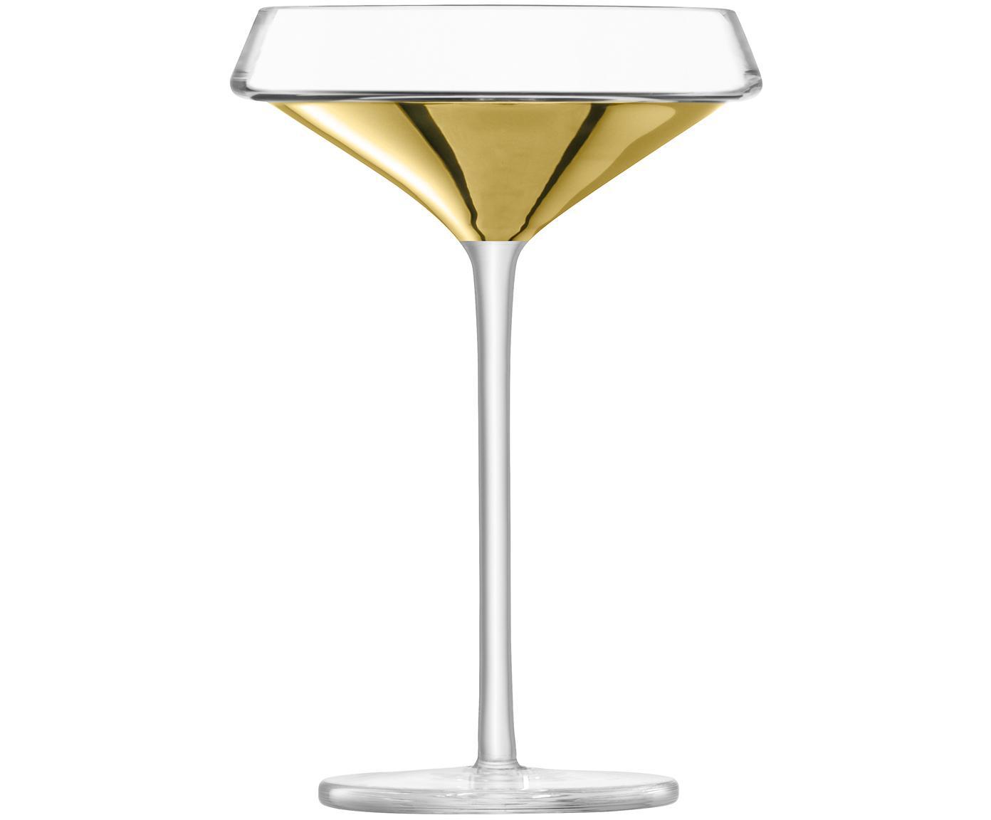 Mondgeblazen champagneglazen Space met gouden detail, 2-delig, Glas, Transparant, goudkleurig, Ø 12 x H 18 cm