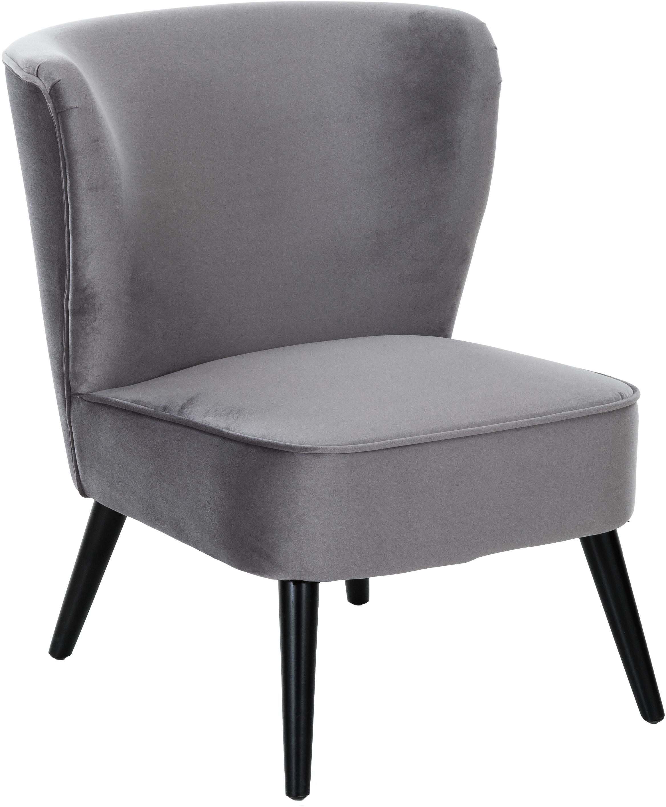 Fluwelen fauteuil Robine, Bekleding: fluweel (polyester), Poten: gelakt grenenhout, Grijs, B 63 x D 73 cm