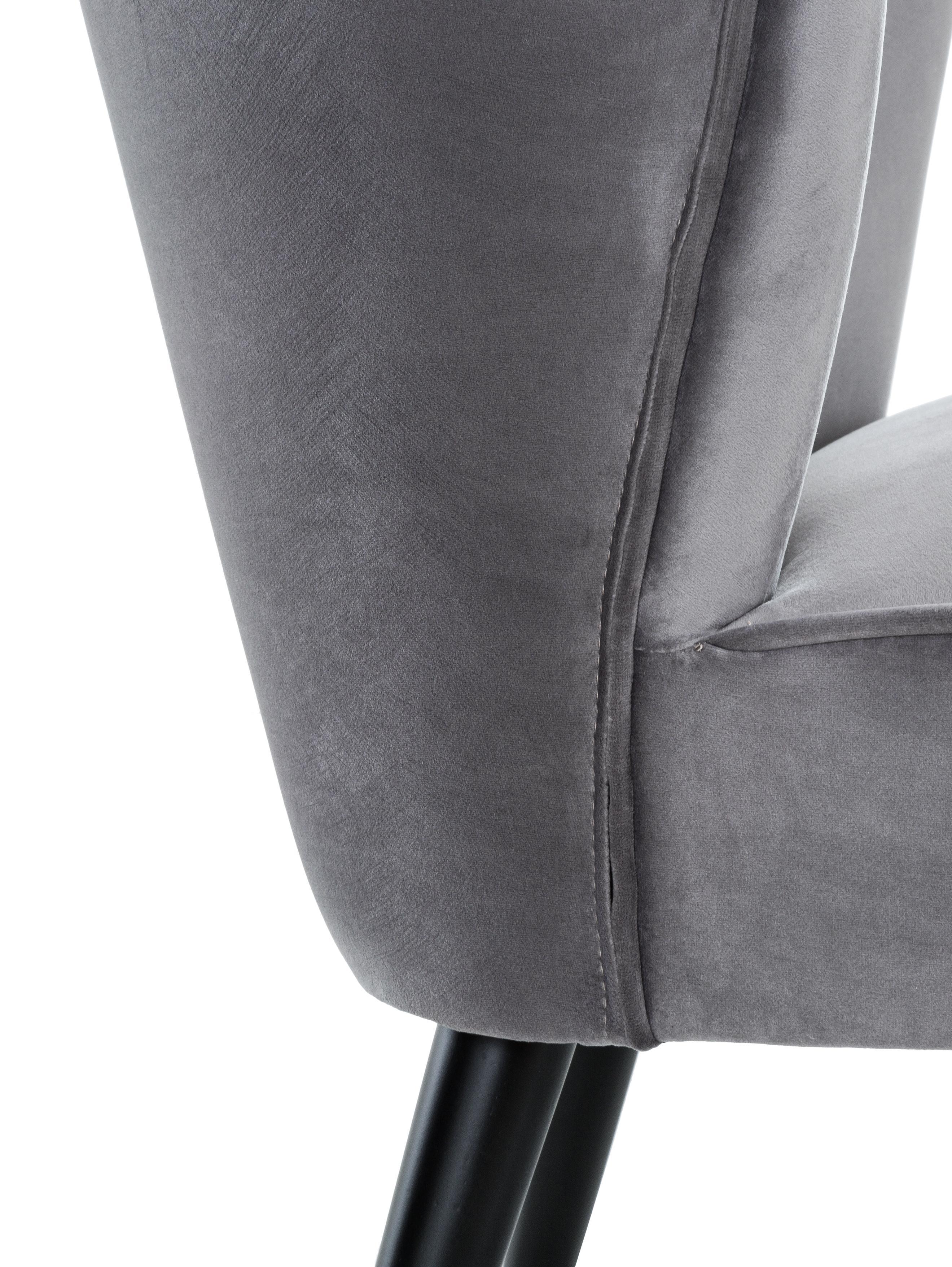 Samt-Cocktailsessel Robine in Grau, Bezug: Samt (Polyester) 30.000 S, Füße: Kiefernholz, lackiert, Samt Grau, B 63 x T 73 cm