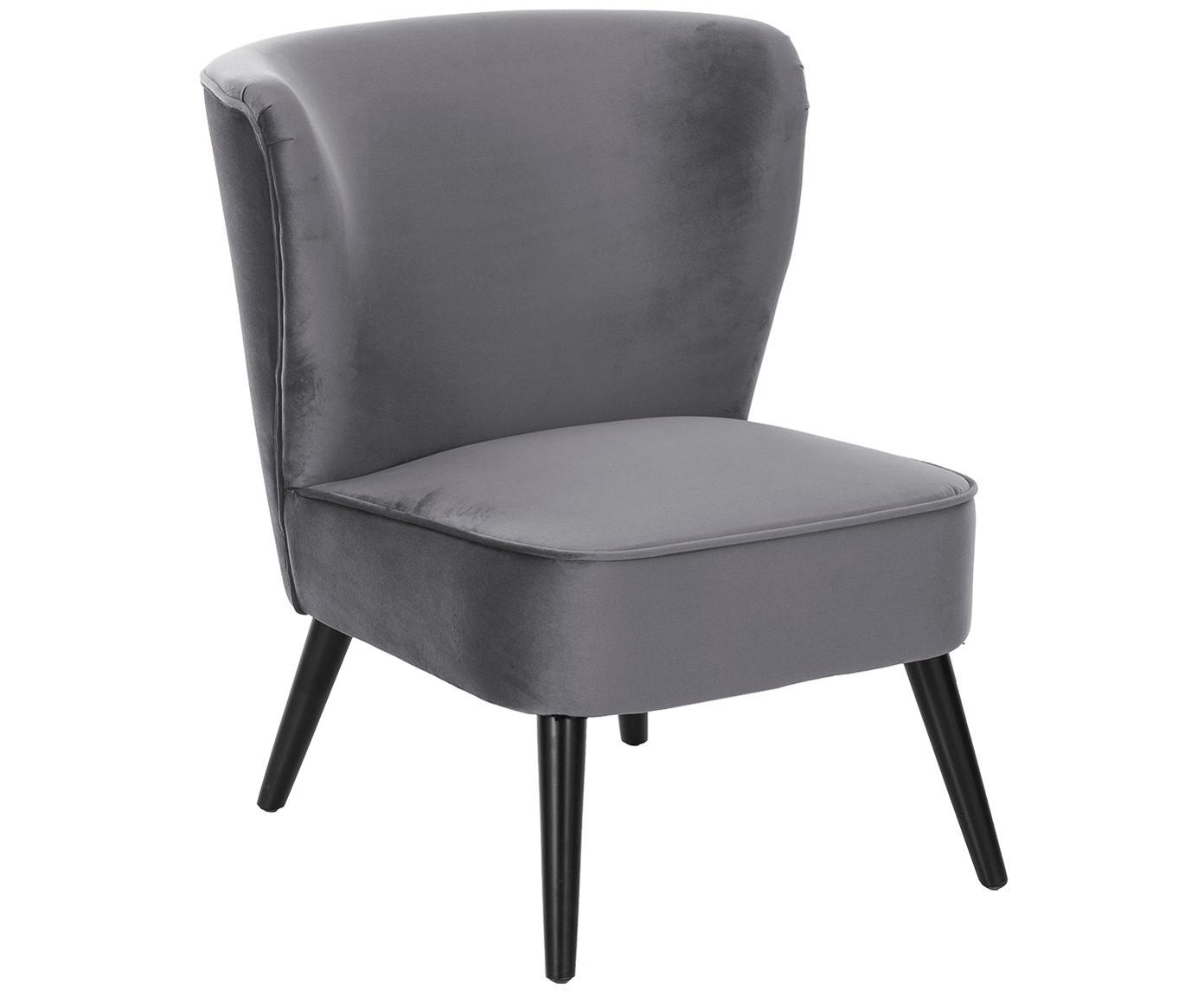 Aksamitne krzesło Robine, Tapicerka: aksamit (poliester) Tkani, Nogi: drewno sosnowe, lakierowa, Szary, S 63 x G 73 cm