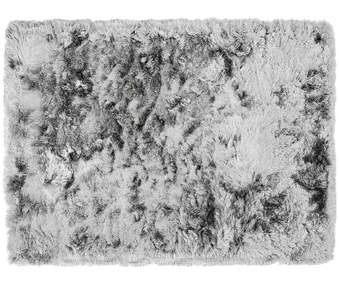 Glanzend hoogpolig  vloerkleed Jimmy in lichtgrijs, Bovenzijde: 100% polyester, Onderzijde: 100% katoen, Lichtgrijs, 300 x 400 cm
