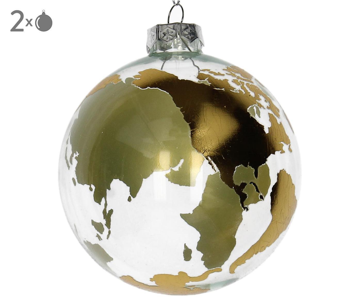Kerstballen Globe, 2 stuks, Goudkleurig, transparant, Ø 10 cm