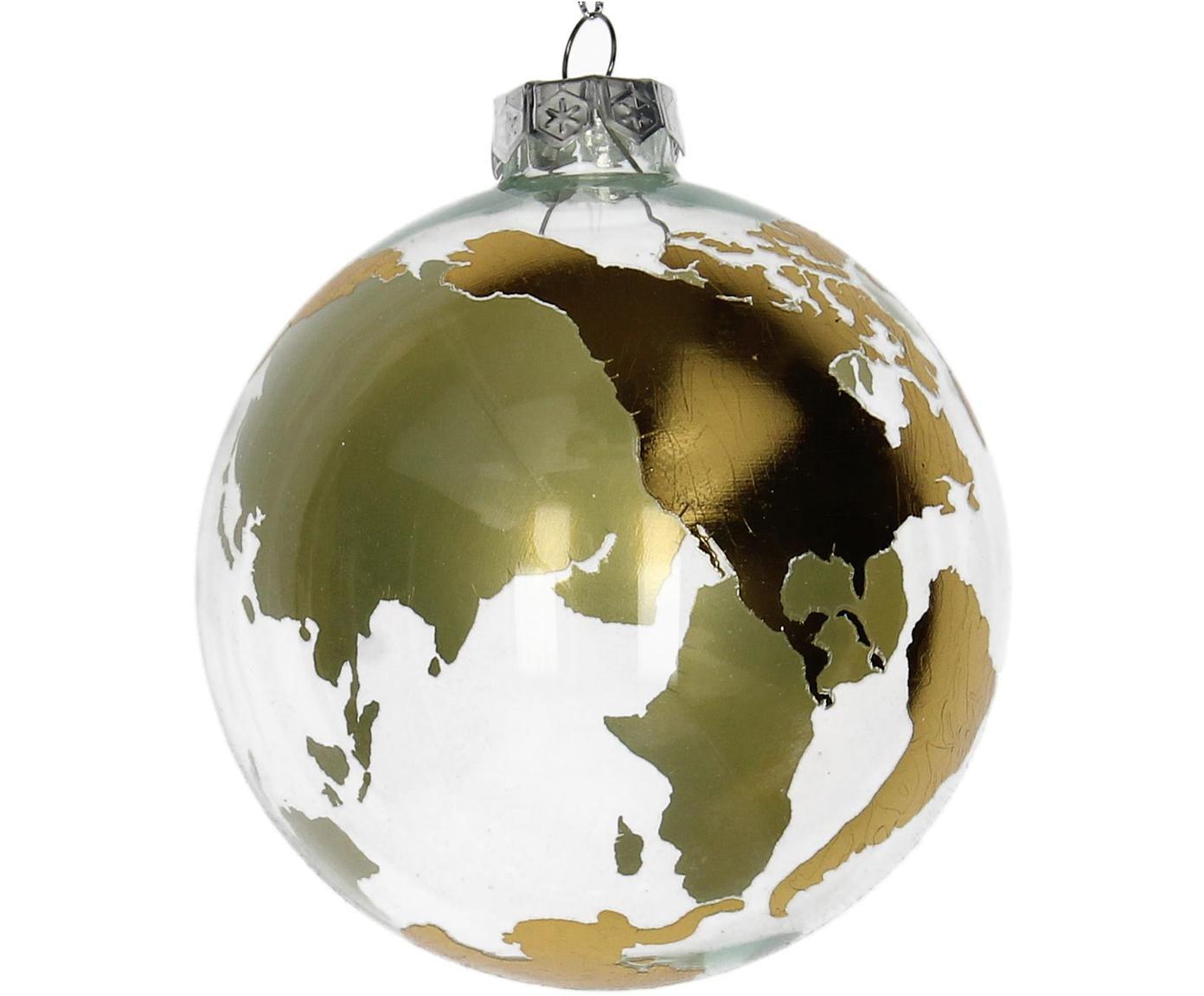 Weihnachtskugeln Globe Ø10cm, 2Stück, Goldfarben, Transparent, Ø 10 cm