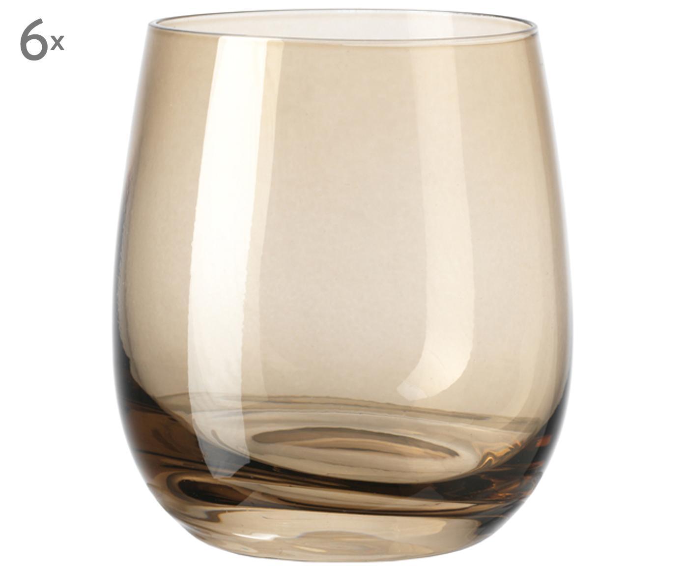 Vasos de alta calidad Sora, 6uds., Vidrio, Beige, Ø 8 x Al 10 cm