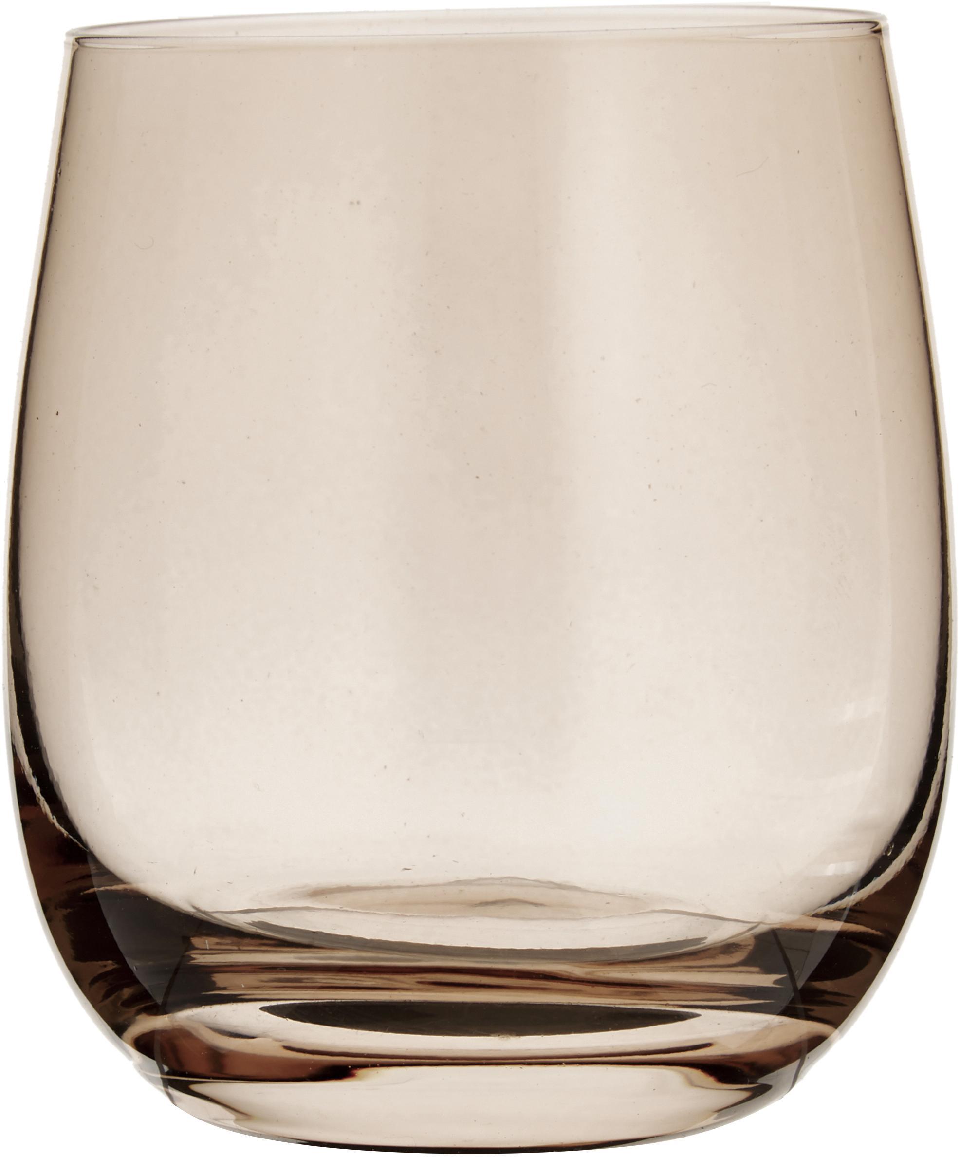 Waterglazen Sora, 6 stuks, Glas, Lichtbruin, Ø 8 x H 10 cm