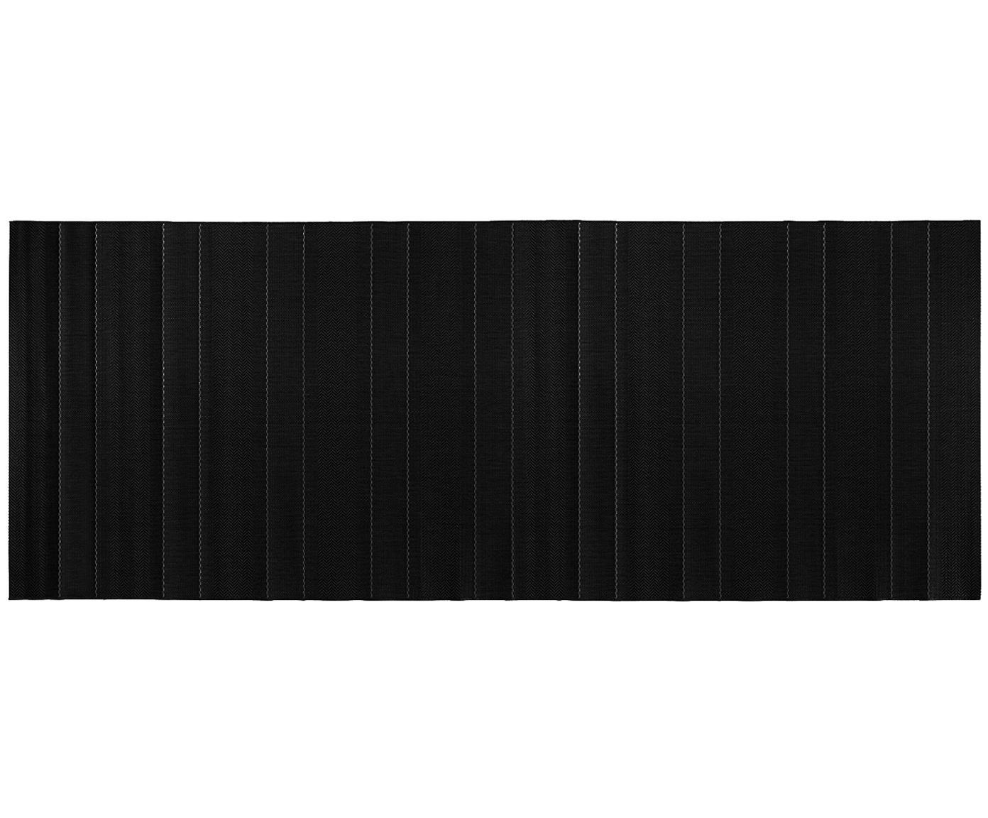 In- & outdoor loper Sunshine, Zwart, crèmekleurig, 80 x 200 cm