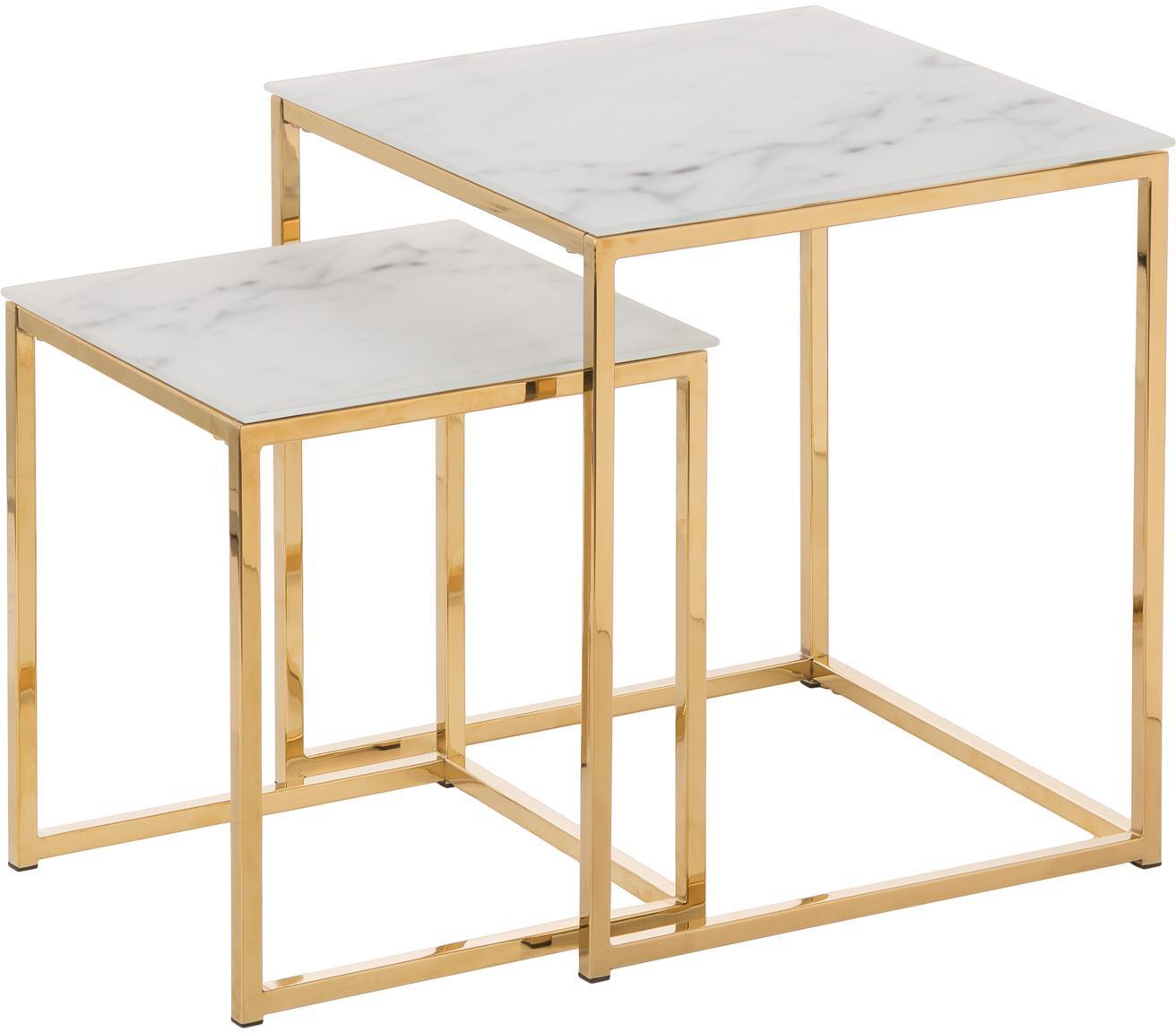 Set de mesas auxiliares Aruba, 2pzas., tablero de cristal en aspecto mármol, Tablero: vidrio estampado en efect, Estructura: metal recubierto, Mármol blanco mate, dorado, Set de diferentes tamaños