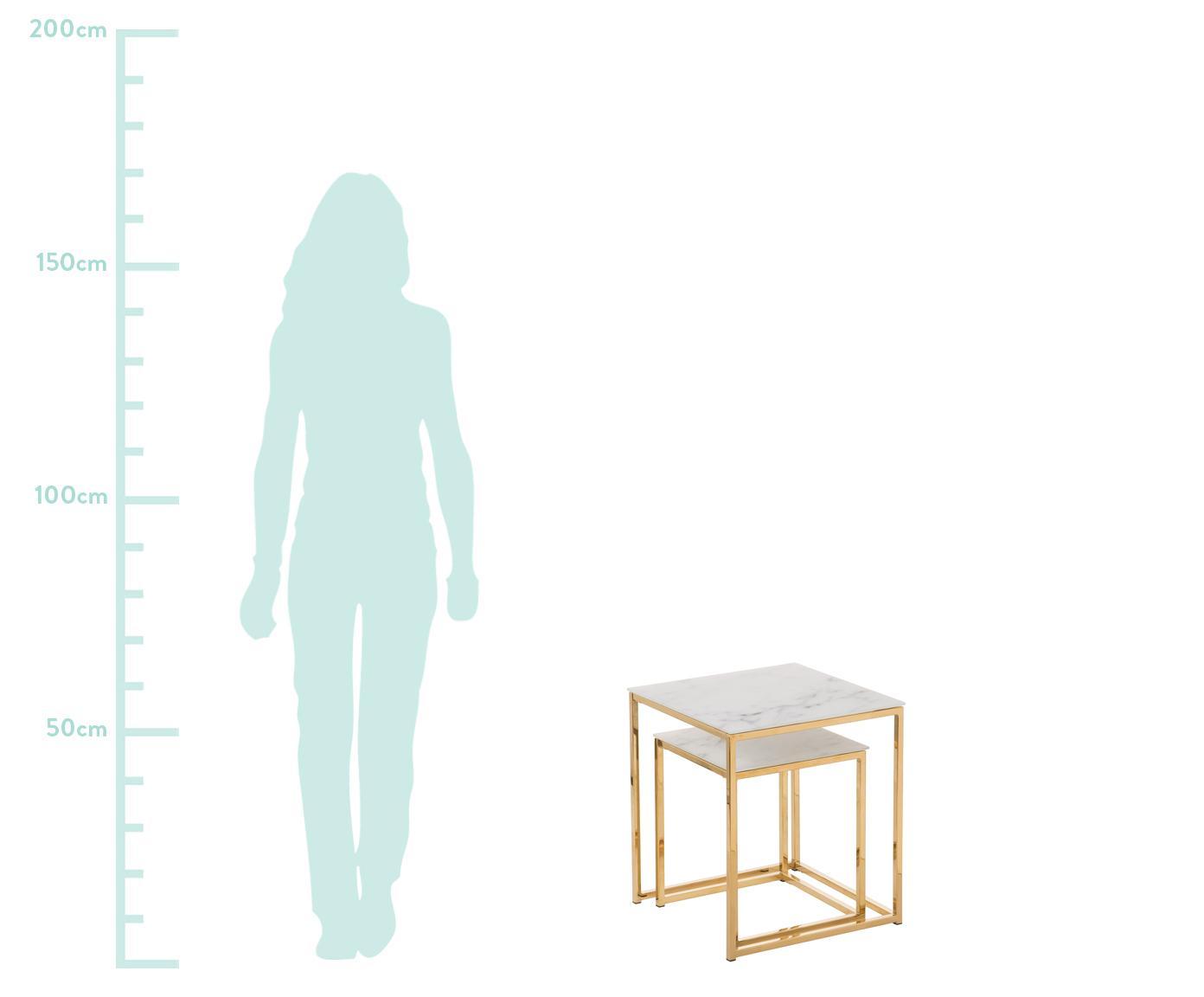 Set 2 tavolini con piano in vetro marmorizzato Antigua, Piano d'appoggio: vetro, Struttura: metallo rivestito, Piani d'appoggio in vetro stampato: opaco bianco, marmorizzato Struttura: dorato, Diverse dimensioni