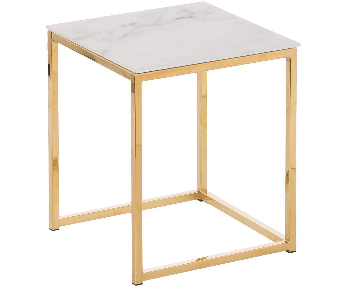 Komplet stolików pomocniczych ze szklanym blatem Antigua, 2 elem., Blat: szkło, Stelaż: metal powlekany, Blat z nadrukiem na szkle: matowy, biały, marmurowy Stelaż: odcienie złotego, Różne rozmiary