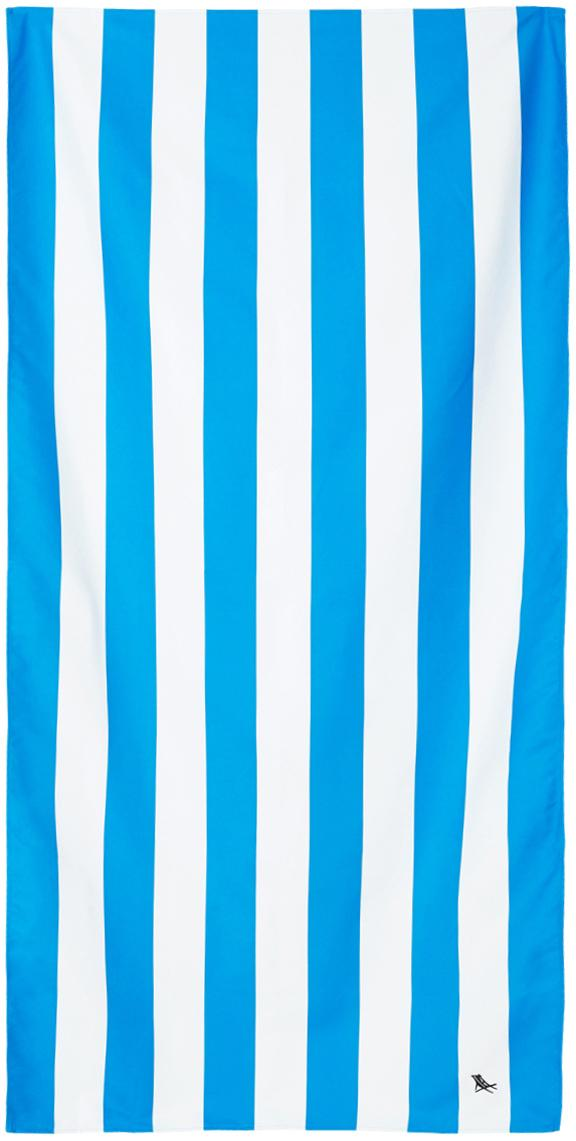 Microfaser-Strandtuch Cabana, schnell trocknend, Microfaser (80% Polyester, 20% Polyamid), Blau, Weiss, 90 x 200 cm