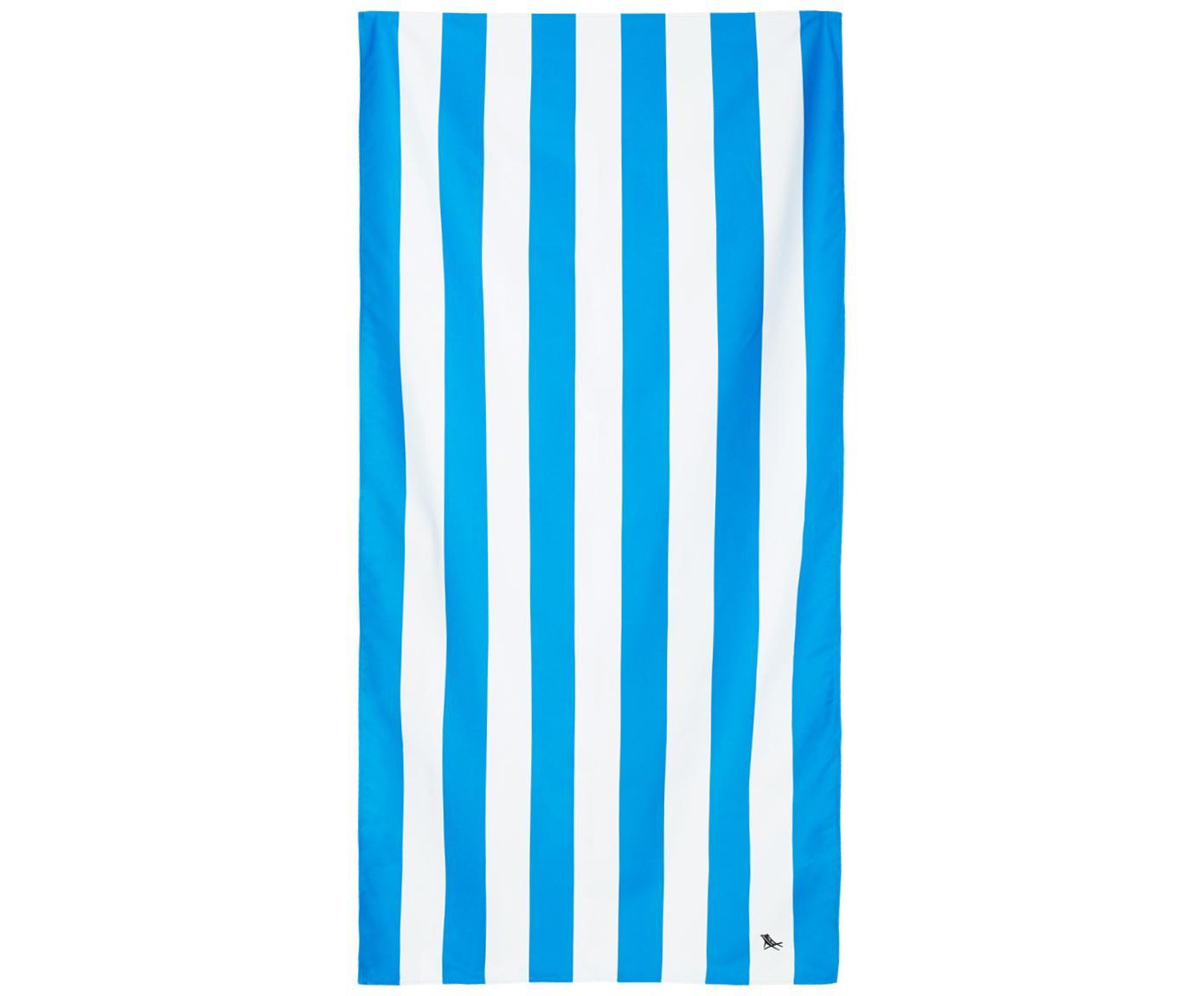 Szybkoschnący ręcznik plażowy z mikrofibry Cabana, Mikrofibra (80% poliester, 20% poliamid), Niebieski, biały, S 90 x D 200 cm