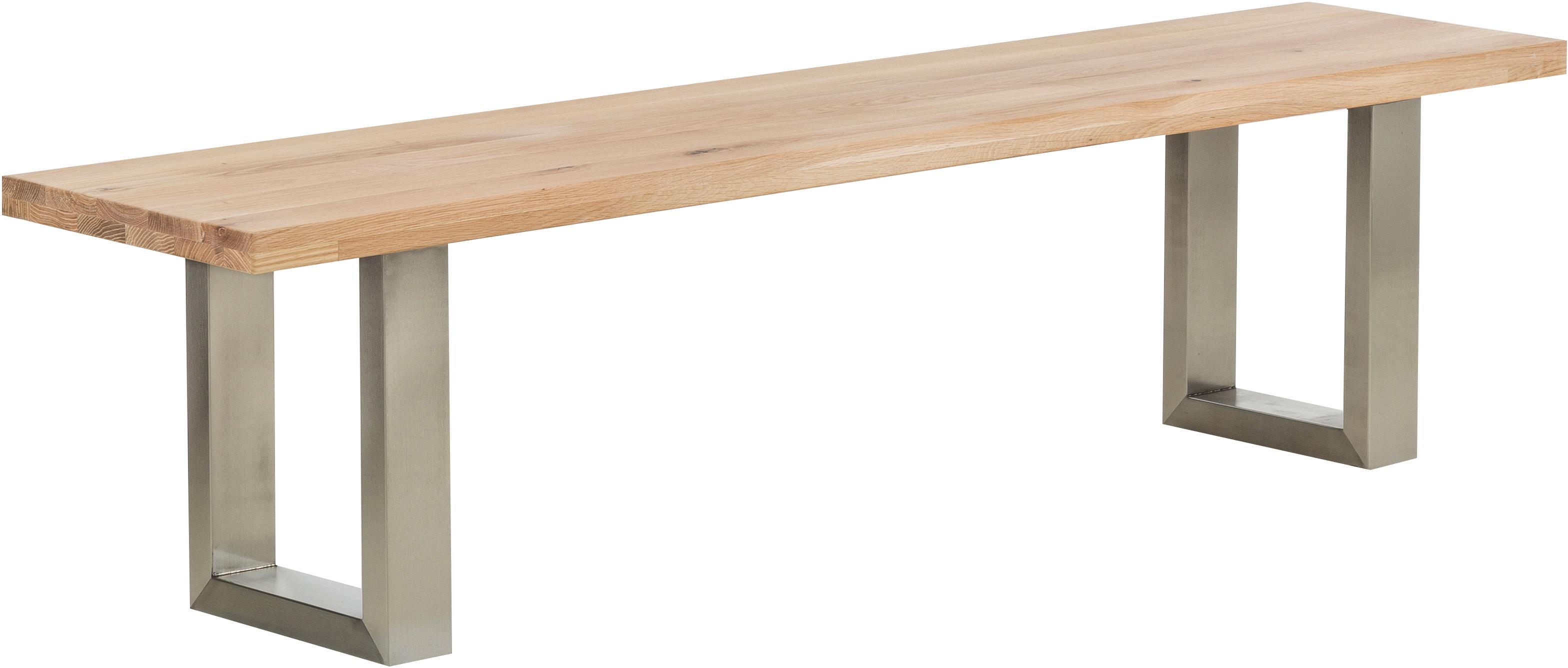 Panca in legno di quercia Oliver, Seduta: Quercia selvatica europea, Gambe: opaco spazzolato acciaio , Seduta: quercia selvatica gambe: acciaio inossidabile opaco spazzolato, Larg. 180 x Alt. 45 cm