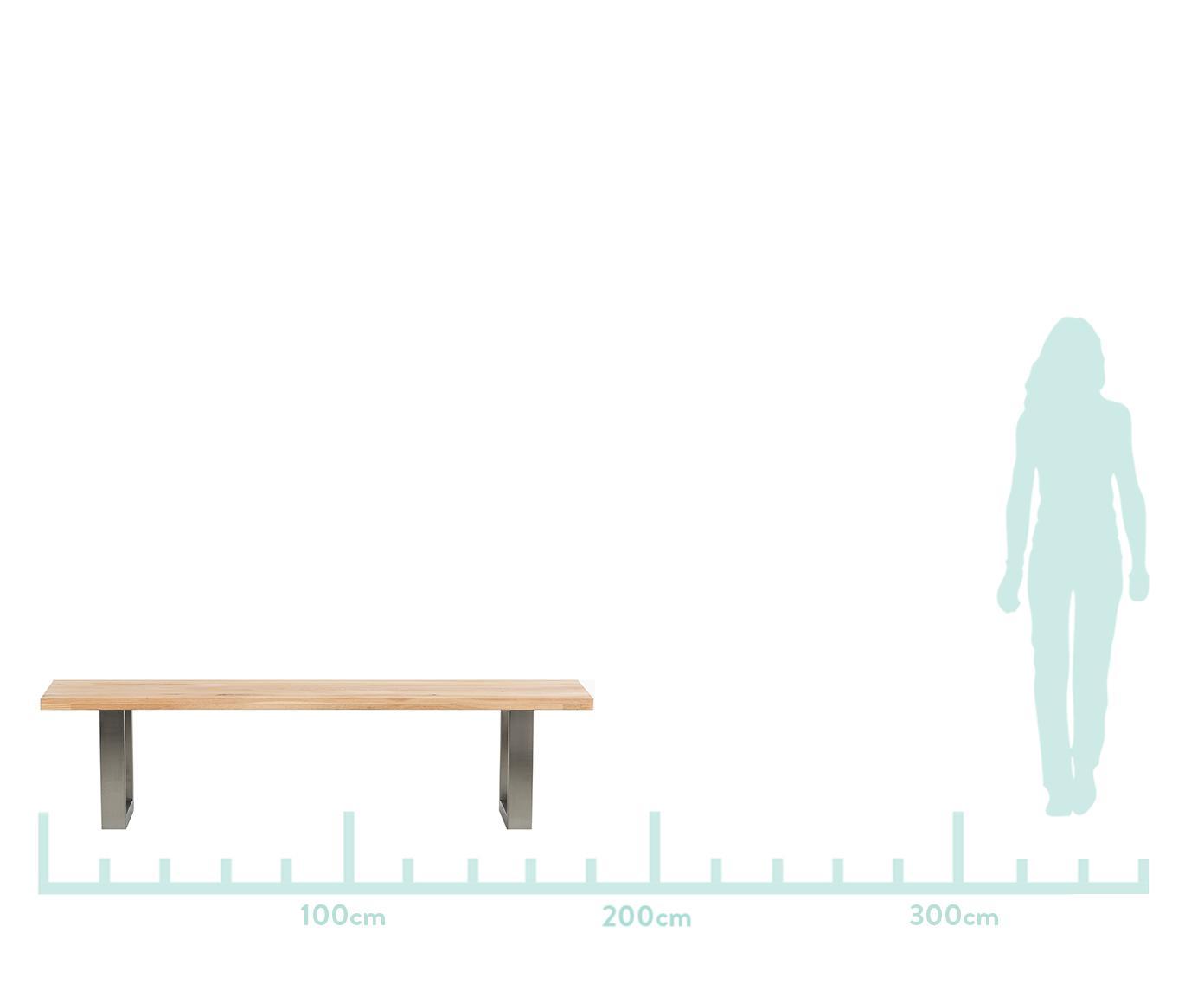 Sitzbank Oliver aus Eichenholz, Sitzfläche: Europäische Wildeiche, ma, Beine: Matt gebürsteter Edelstah, Sitzfläche: WildeicheBeine: Edelstahl, matt gebürstet, 180 x 45 cm