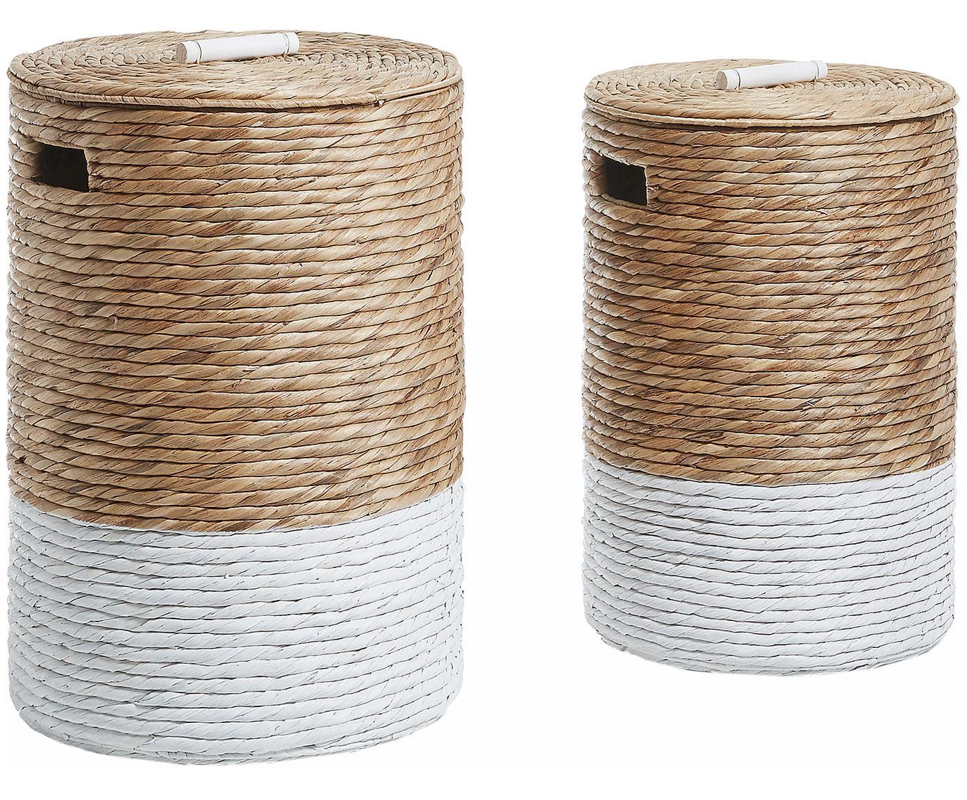 Wäschekörbe-Set Mast, 2-tlg., Weiß, Beige, Sondergrößen