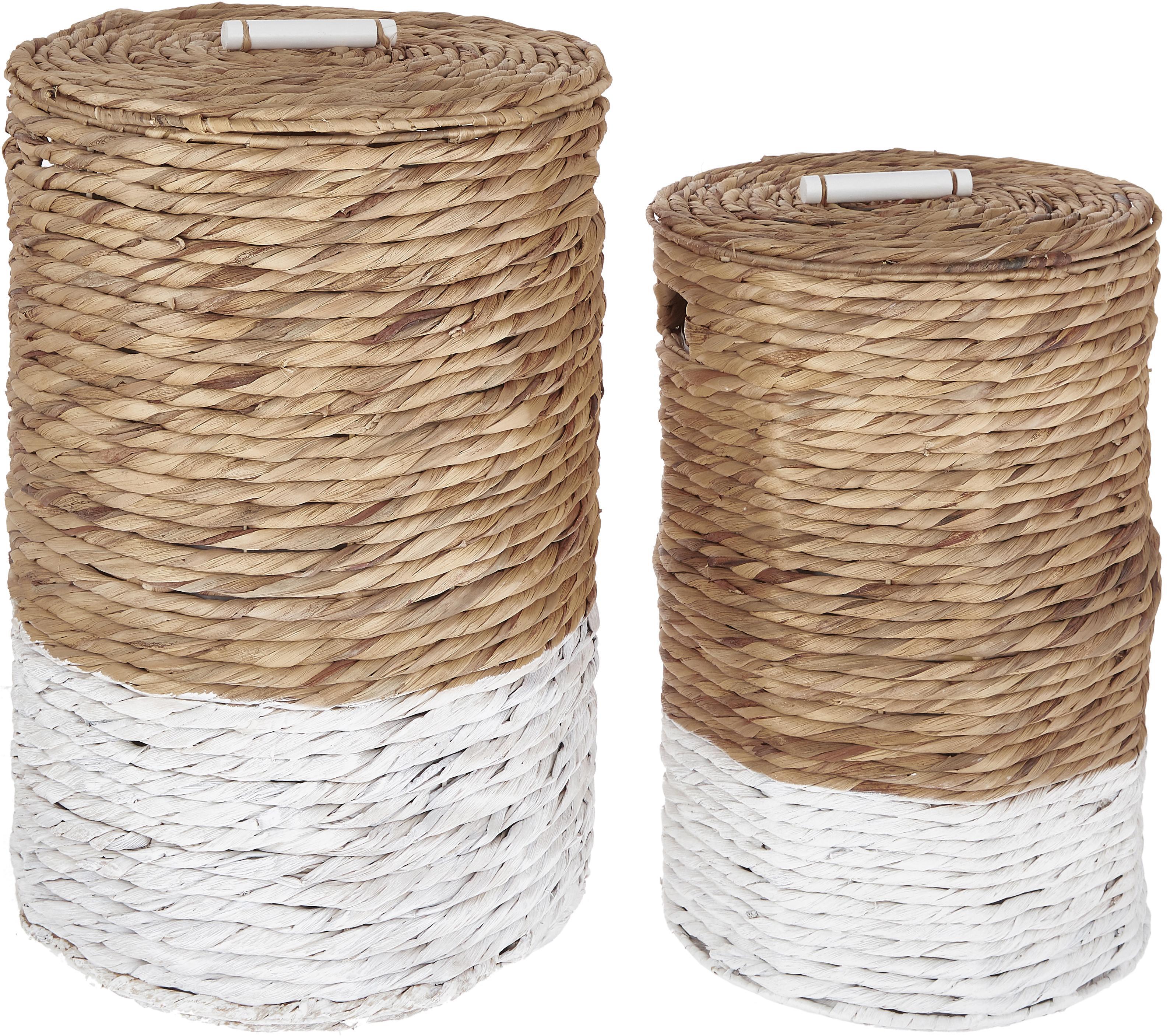 Wasmandenset Mast, 2-delig, Wit, beige, Verschillende formaten