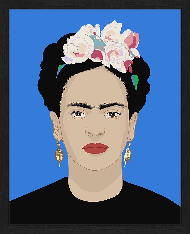Stampa digitale incorniciata Frida Kahlo, Immagine: stampa digitale su carta,, Cornice: legno verniciato, Multicolore, Larg. 43 x Alt. 53 cm