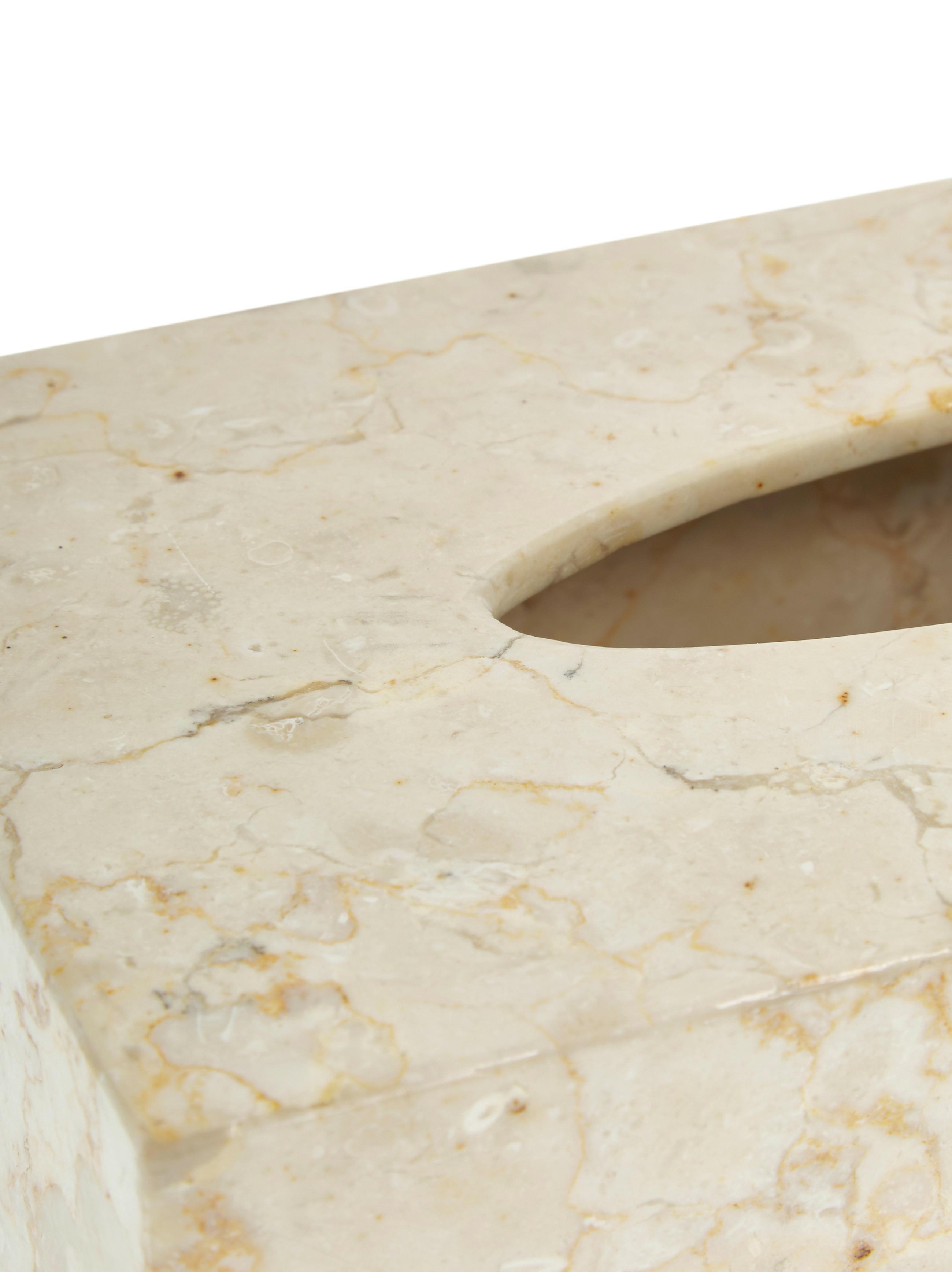 Marmor-Kosmetiktuchbox Luxor, Marmor, Beige, 26 x 8 cm
