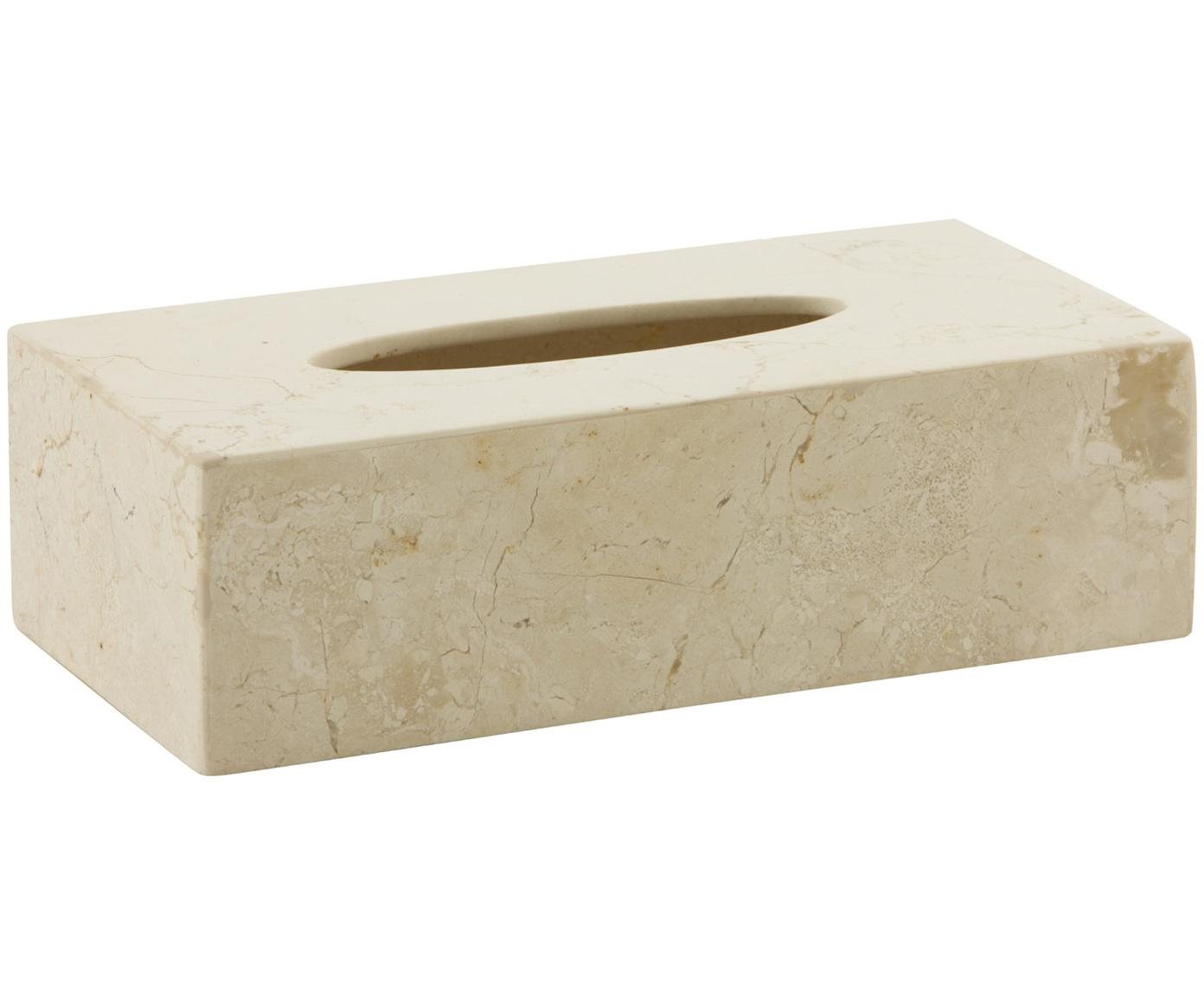 Caja de pañuelos de mármol Luxor, Mármol, Beige, An 26 x Al 8 cm