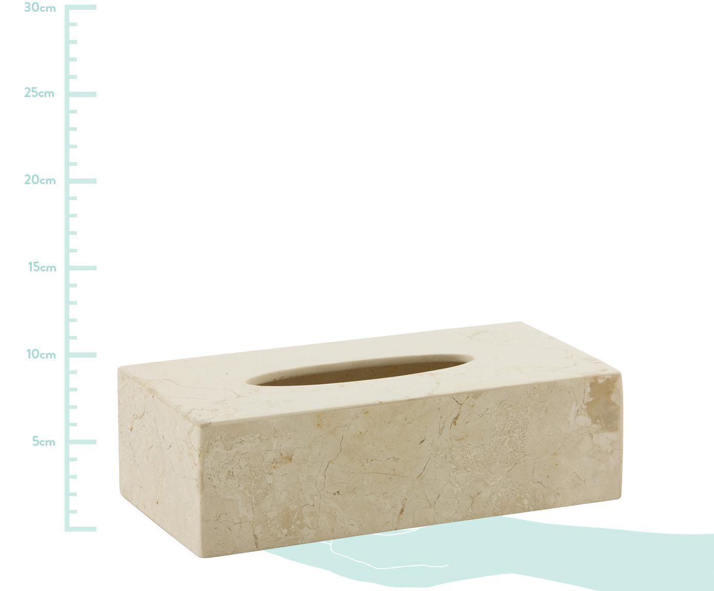 Marmeren tissuebox Luxor, Marmer, Beige, 26 x 8 cm
