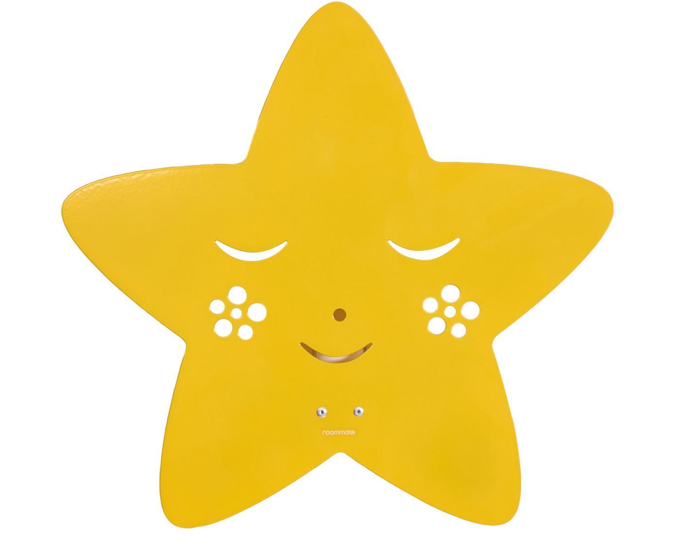 Wandlamp Star, Gepoedercoat metaal, Geel, 30 x 29 cm