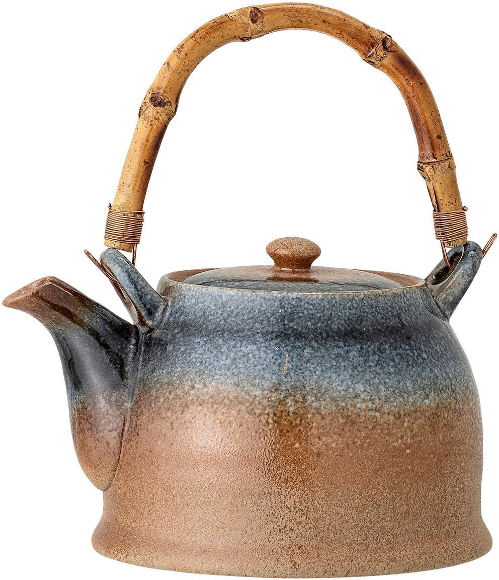 Handgemaakte theepot Aura met zeef en bamboe handgreep, Porselein, bamboehout, Beige- en blauwtinten, 1 L