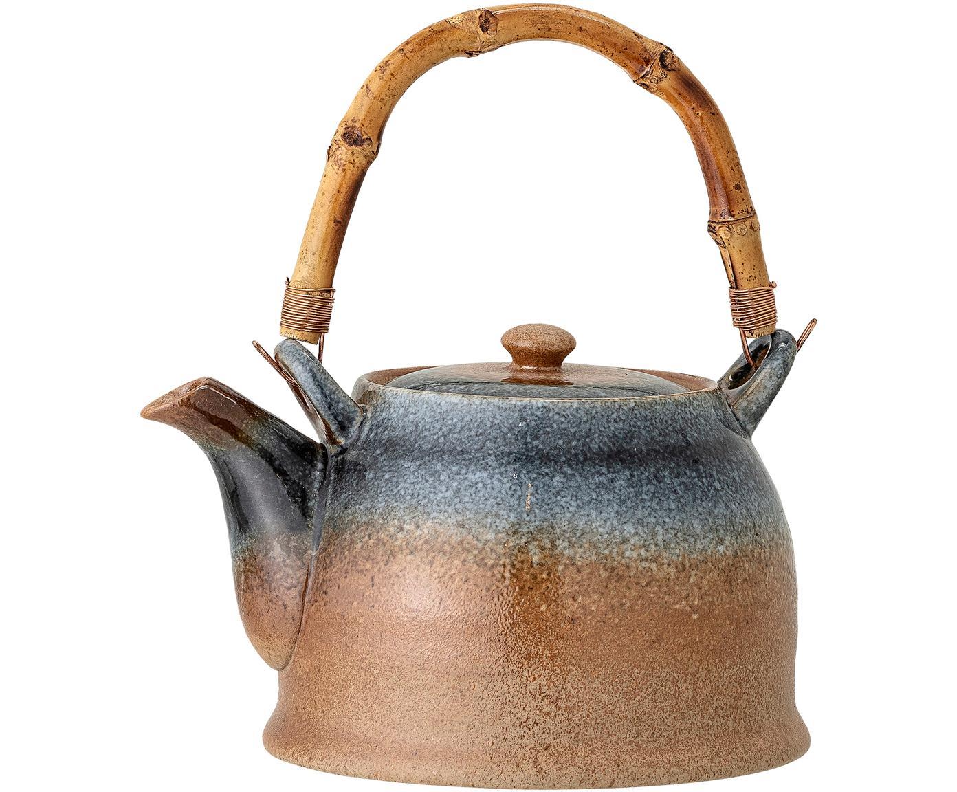 Handgemachte Teekanne Aura mit Teesieb und Bambusgriff, Kanne: Porzellan, Griff: Bambus, Beige- und Blautöne, 1 L