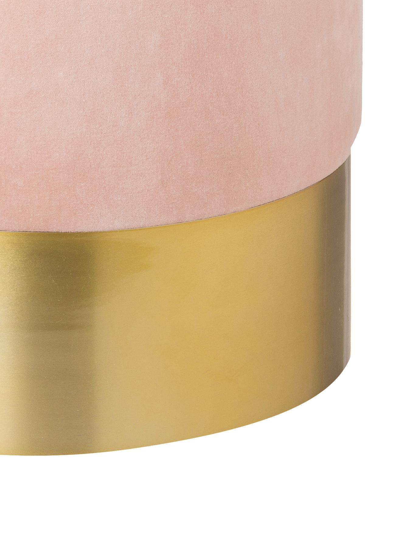 Samt-Hocker Harlow, Bezug: Baumwollsamt, Fuß: Eisen, pulverbeschichtet, Altrosa, Goldfarben, Ø 38 x H 42 cm