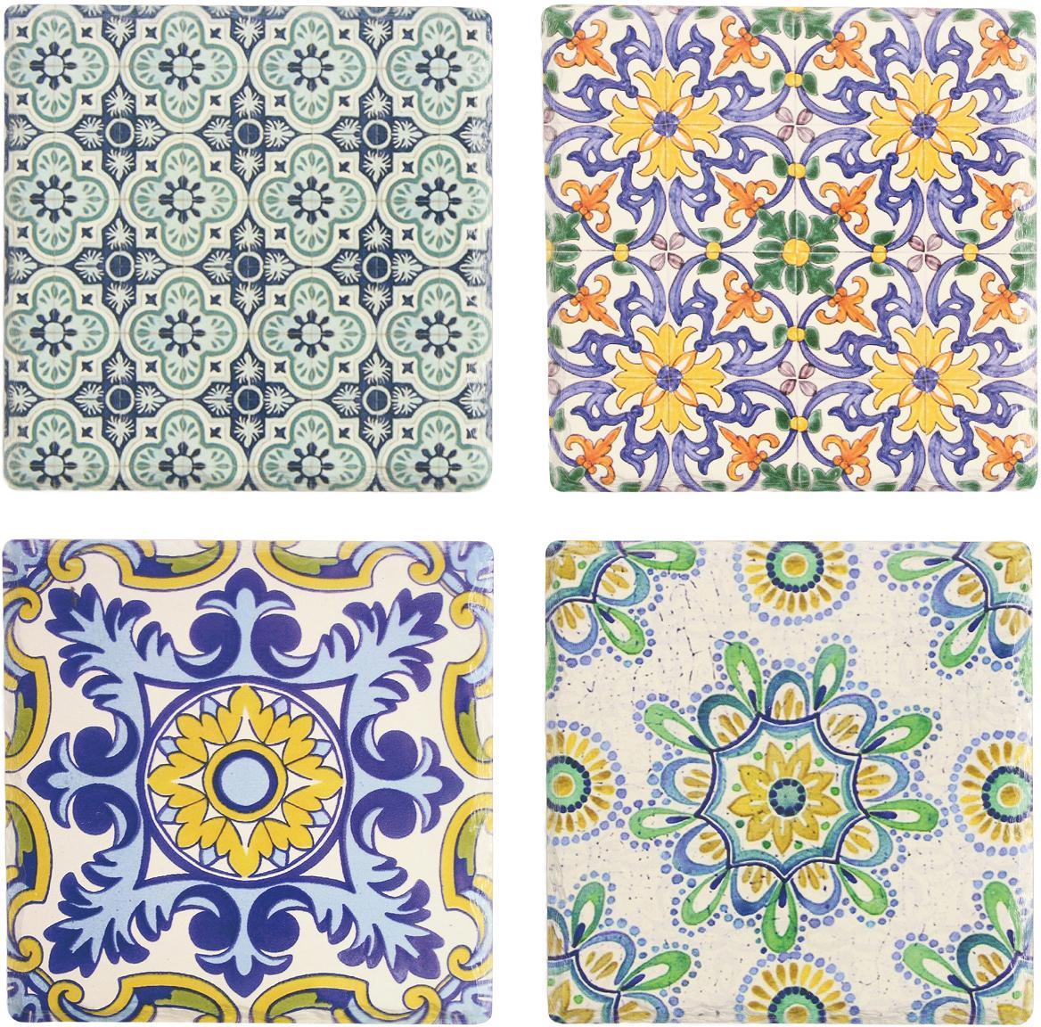 Panonderzetterset Deruta, 4-delig, Keramiek, kurk, Multicolour, B 16 x D 16 cm