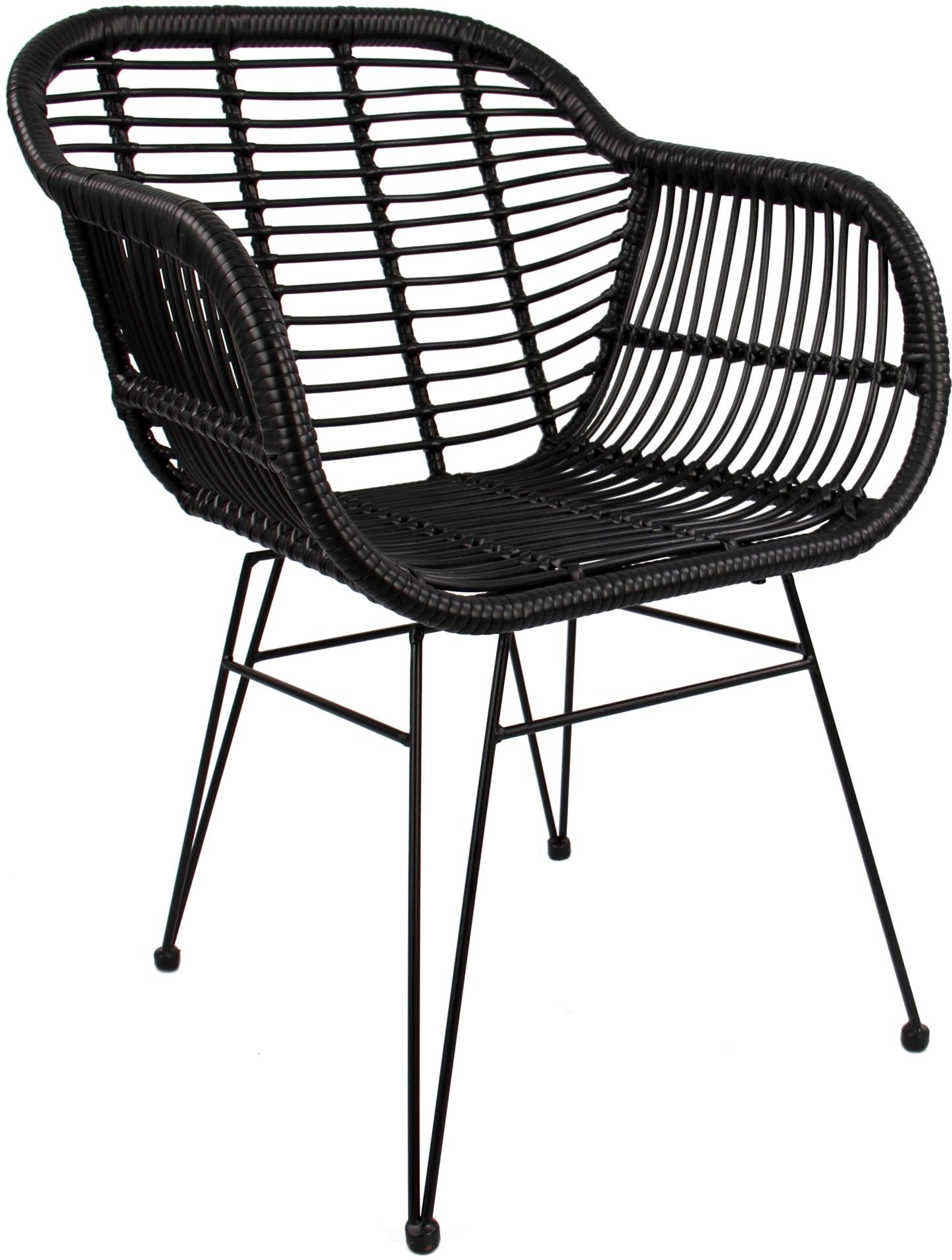 Sillas con reposabrazos Costa, 2uds., Asiento: polietileno, Estructura: metal con pintura en polv, Negro, An 60 x F 58 cm
