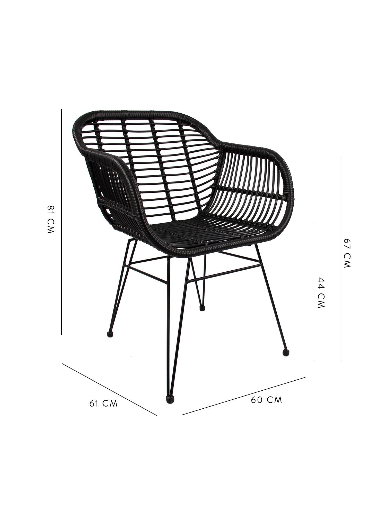 Krzesło z podłokietnikami z polirattanu Costa, 2 szt., Stelaż: metal malowany proszkowo, Czarny, nogi: czarny, S 60 x G 58 cm