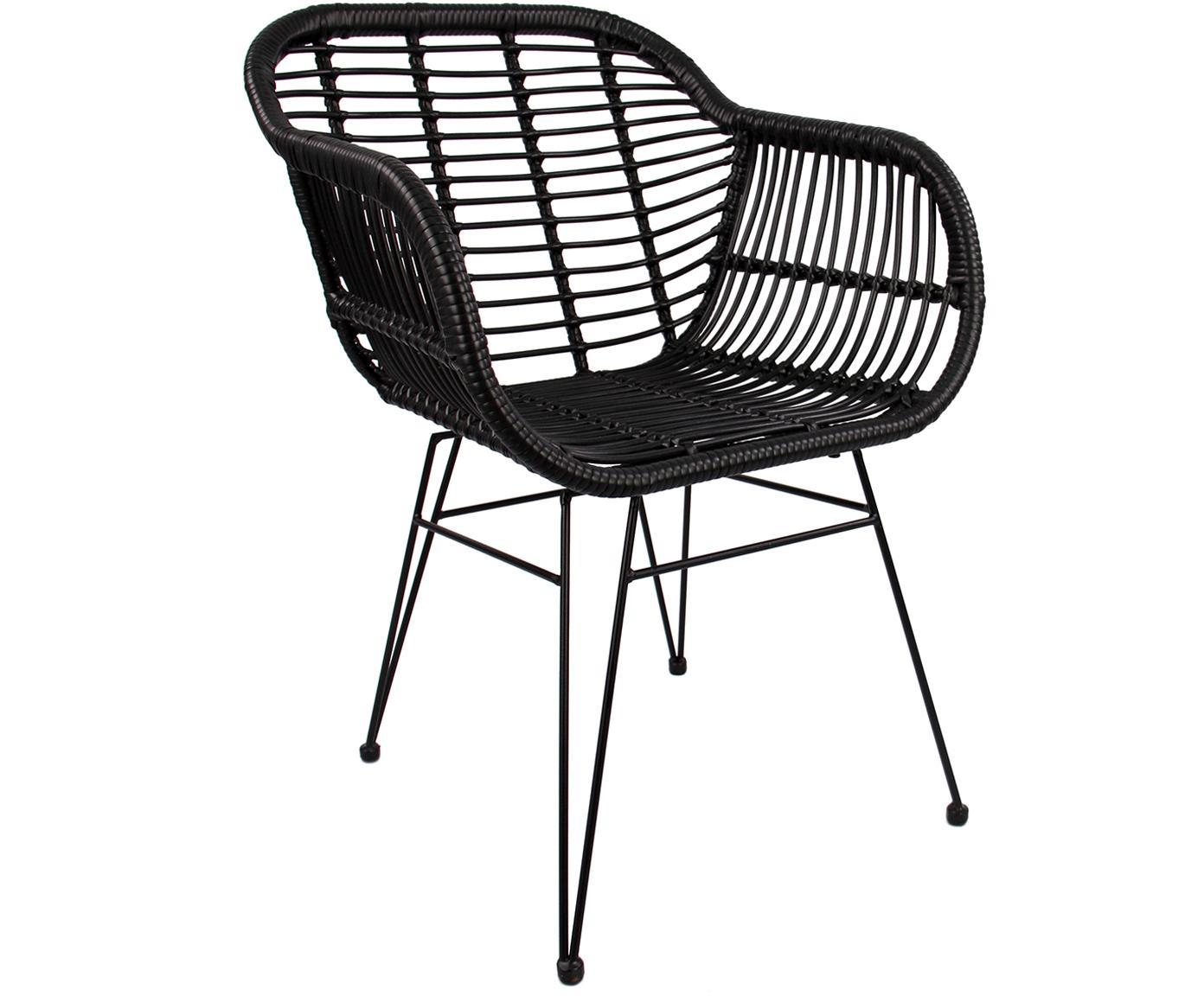 Sedia con braccioli Costa 2 pz, Seduta: intreccio polietilene, Struttura: metallo verniciato a polv, Nero, gambe nero, Larg. 60 x Prof. 58 cm