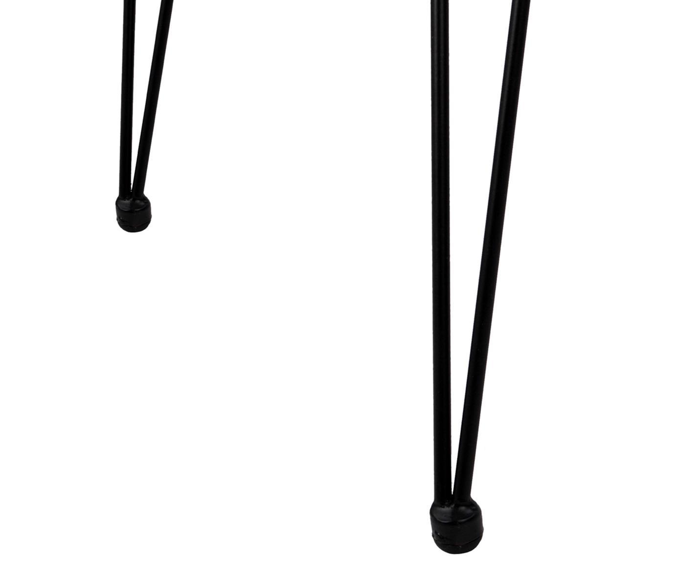 Polyrotan armstoelen Costa, 2 stuks, Zitvlak: polyethyleen-vlechtwerk, Frame: gepoedercoat metaal, Zitvlak: zwart. Frame: mat zwart, B 60 x D 58 cm