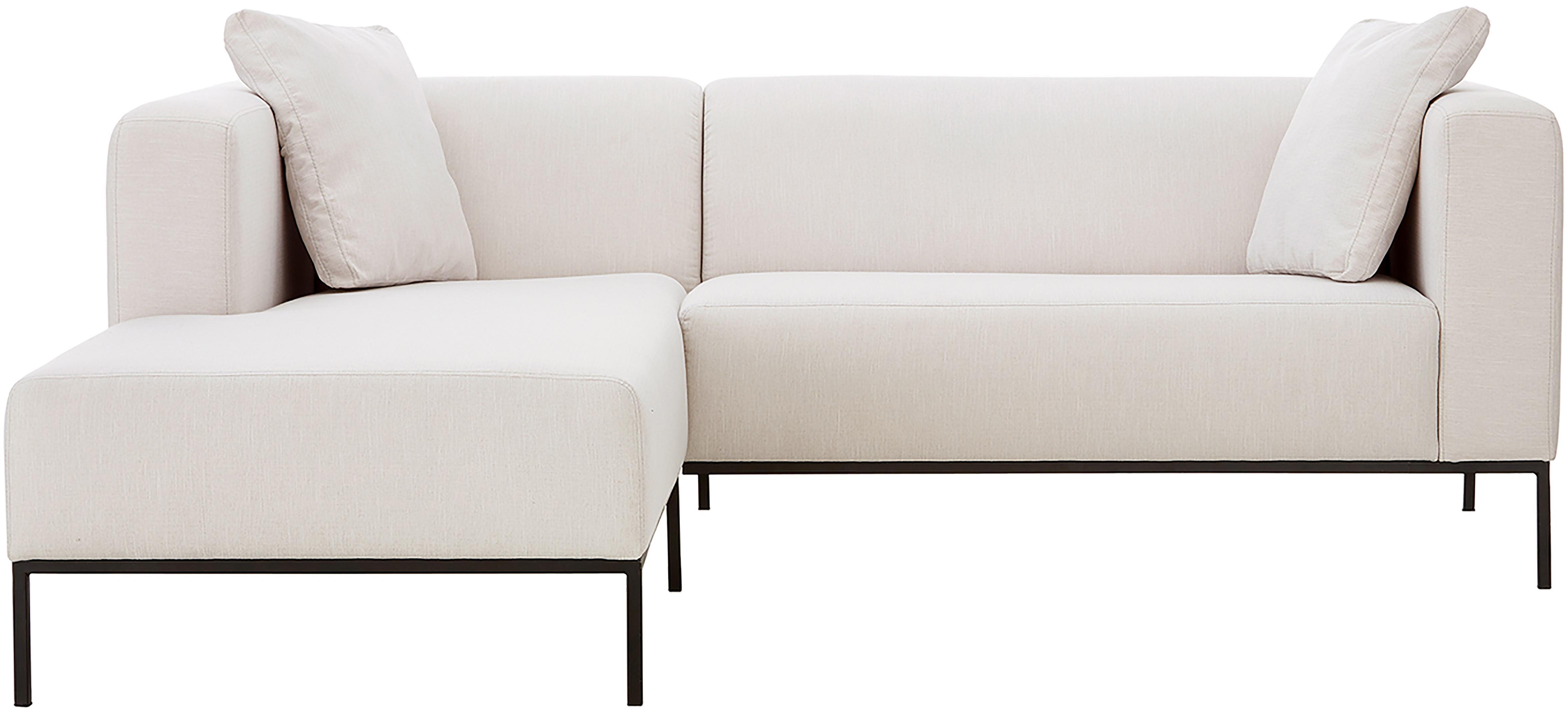 Ecksofa Carrie, Bezug: Polyester 50.000 Scheuert, Gestell: Spanholz, Hartfaserplatte, Füße: Metall, lackiert, Webstoff Beige, B 222 x T 180 cm