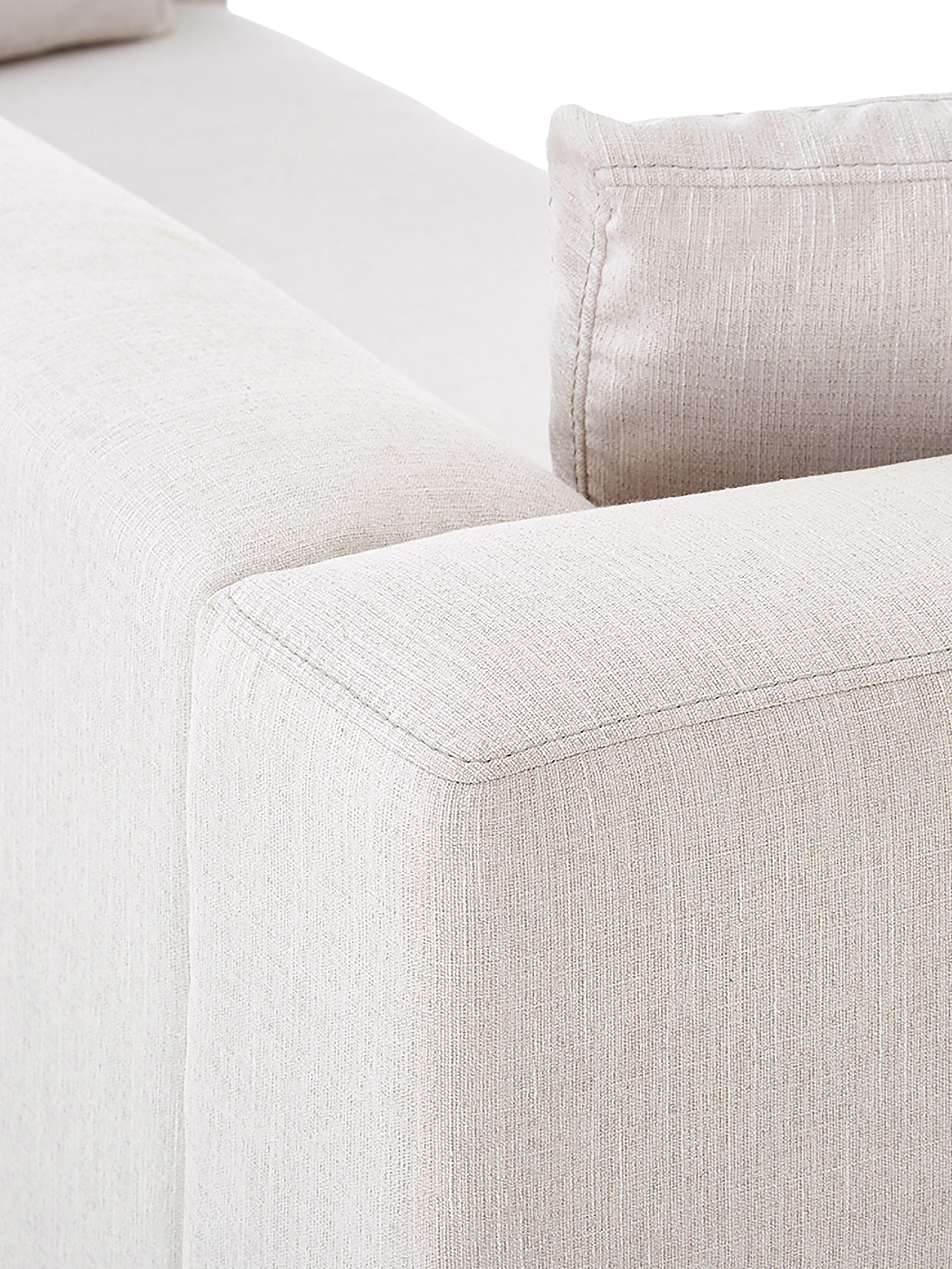 Canapé d'angle beige Carrie, Tissu beige