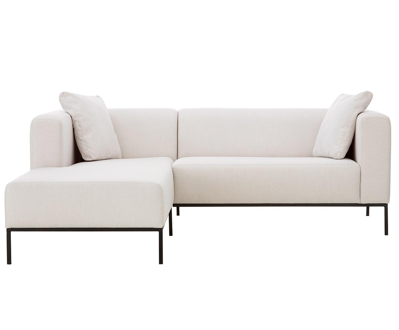 Hoekbank Carrie, Bekleding: polyester, Frame: spaanplaat, hardboard, mu, Poten: gelakt metaal, Webstoff Beige, B 241 x D 200 cm