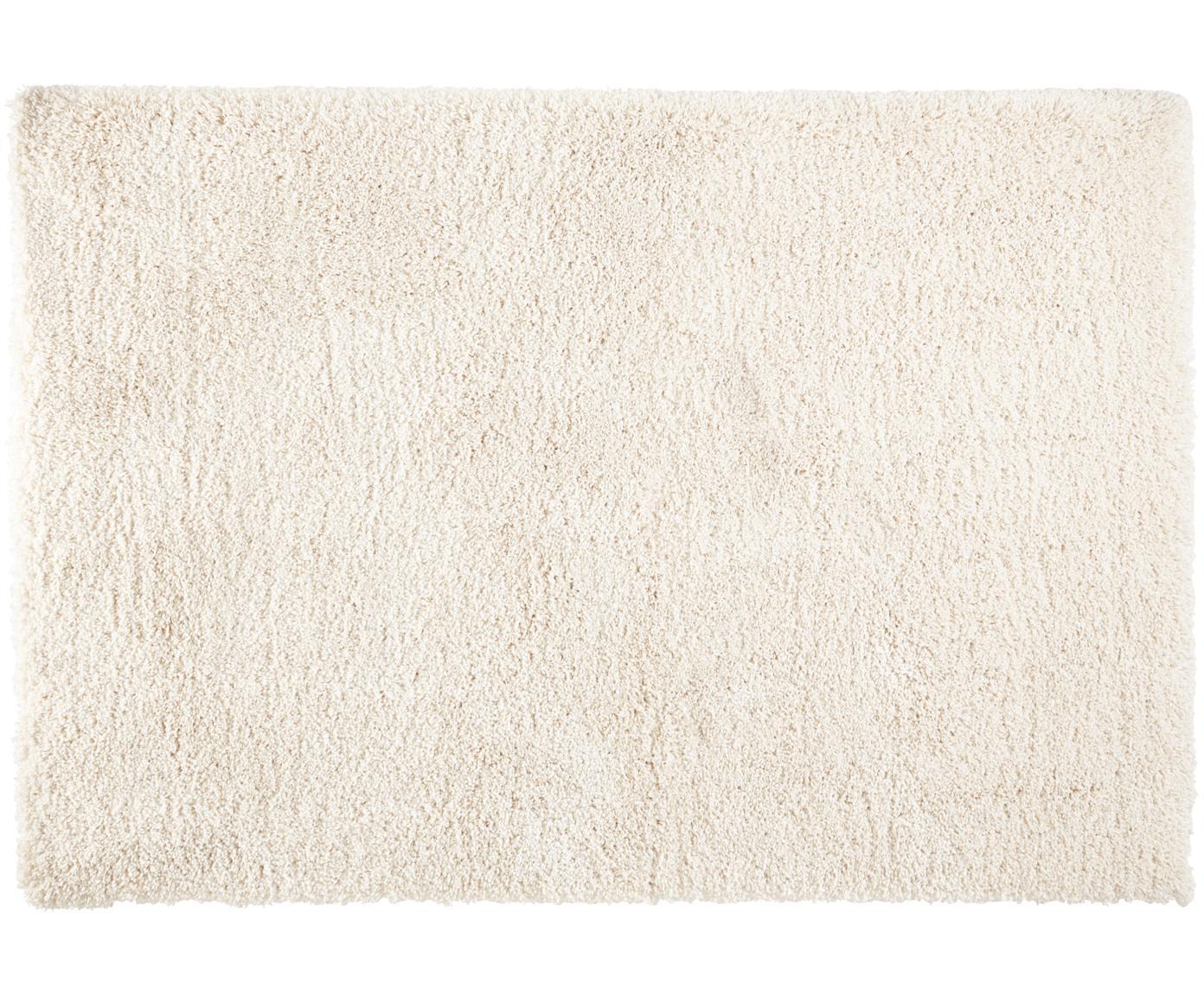 Pluizig hoogpolig vloerkleed Venice, Bovenzijde: polypropyleen, Onderzijde: jute, Crèmekleurig, B 80 x L 150 cm (maat XS)