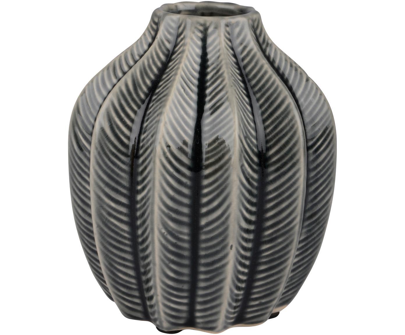 Vase Felicia aus Keramik, Keramik, Grau, Ø 14 x H 15 cm