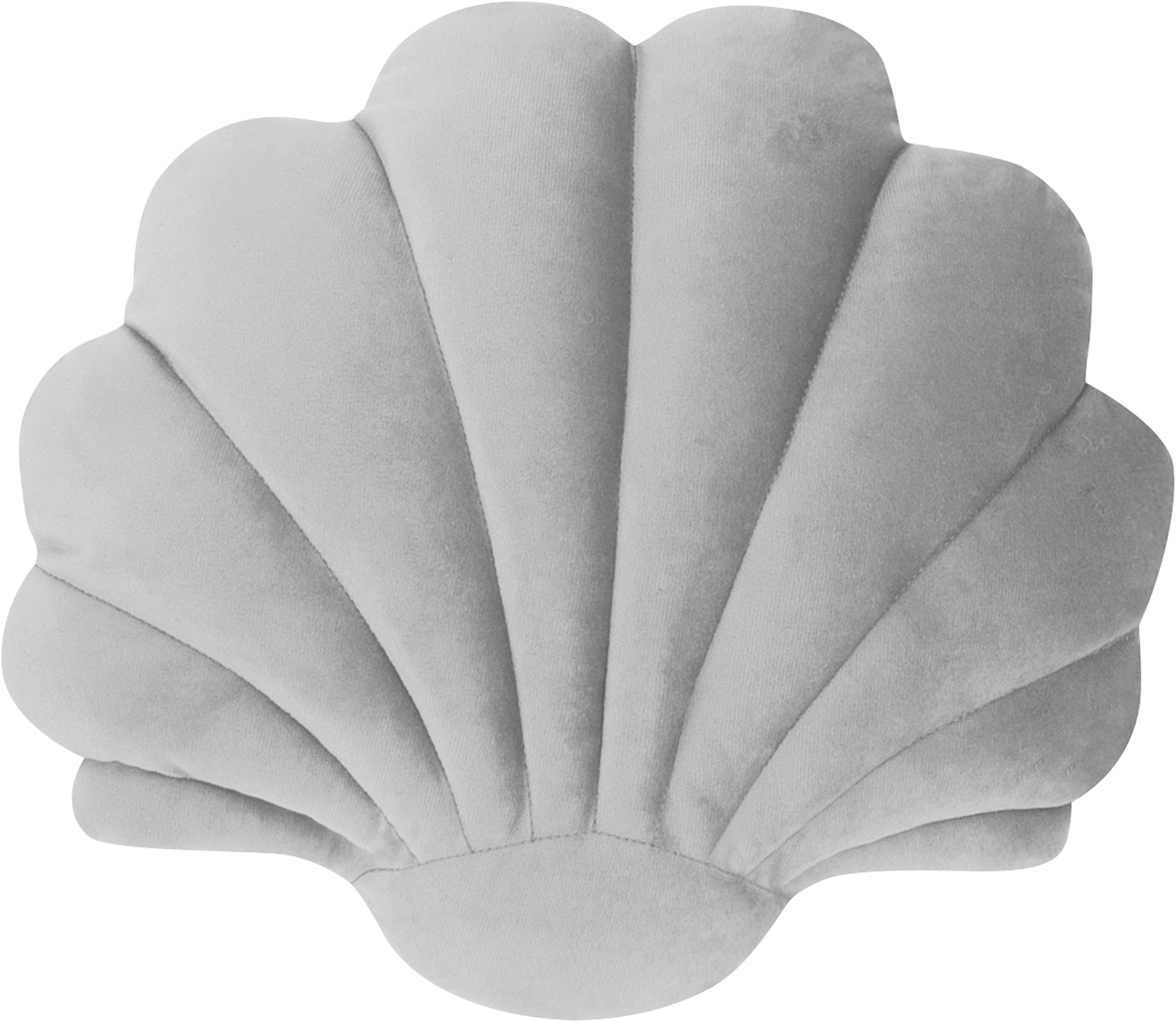Cojín de terciopelo Shel, con relleno, Parte superior: 100%terciopelo de poliés, Parte trasera: 100%poliéster, Gris claro, An 28 x L 30 cm