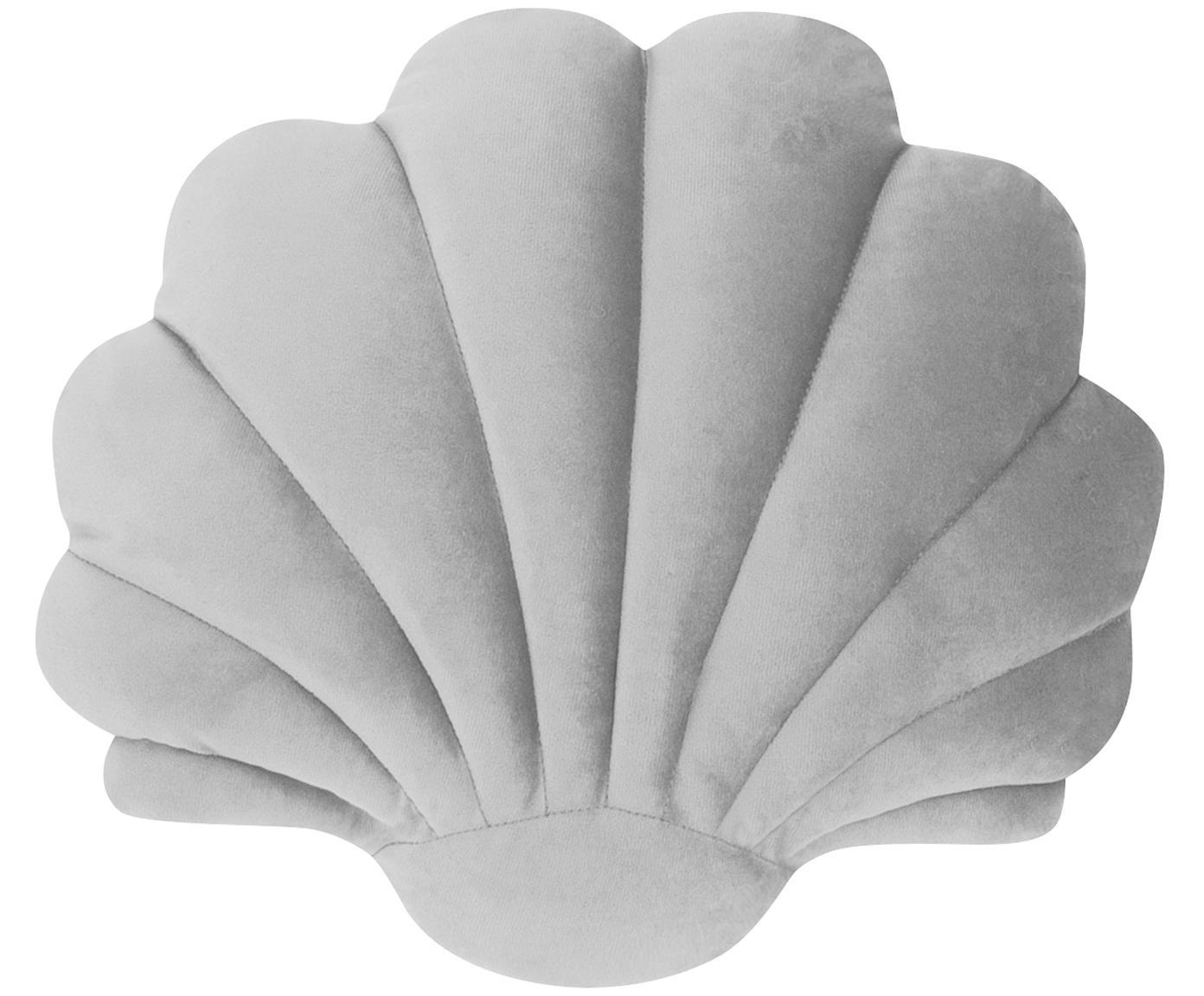 Poduszka Shell, Tapicerka: 100% aksamit poliestrowy, Jasny szary, S 28 x D 30 cm