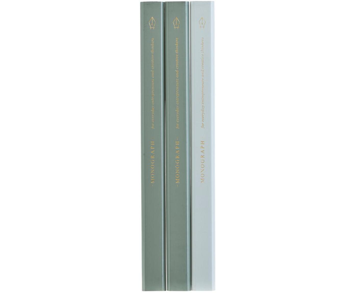 Komplet ołówków Carpenter, 3 elem., Drewno naturalne, grafit, Zielony, jasny niebieski, S 2 x D 18 cm