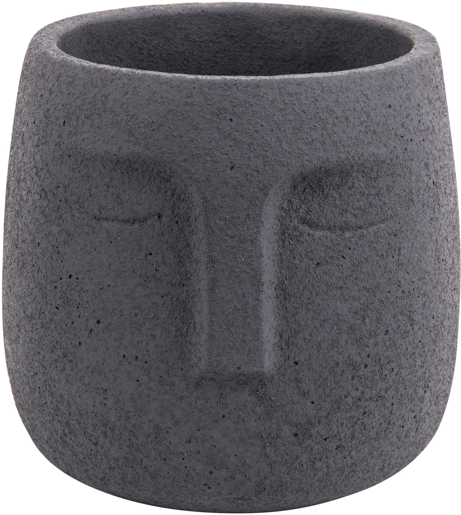 Kleine plantenpot Face van beton, Betonkleurig, Donkerblauw, Ø 13 x H 14 cm