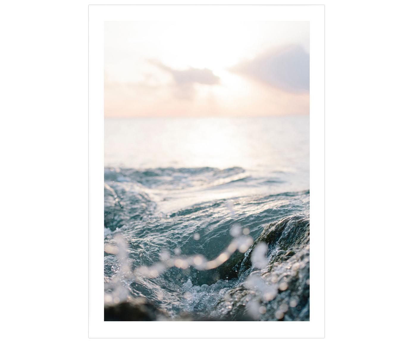 Plakat Ocean, Druk cyfrowy na papierze, matowy 180 g/m², Odcienie niebieskiego, odcienie beżowego, S 50 x W 70 cm