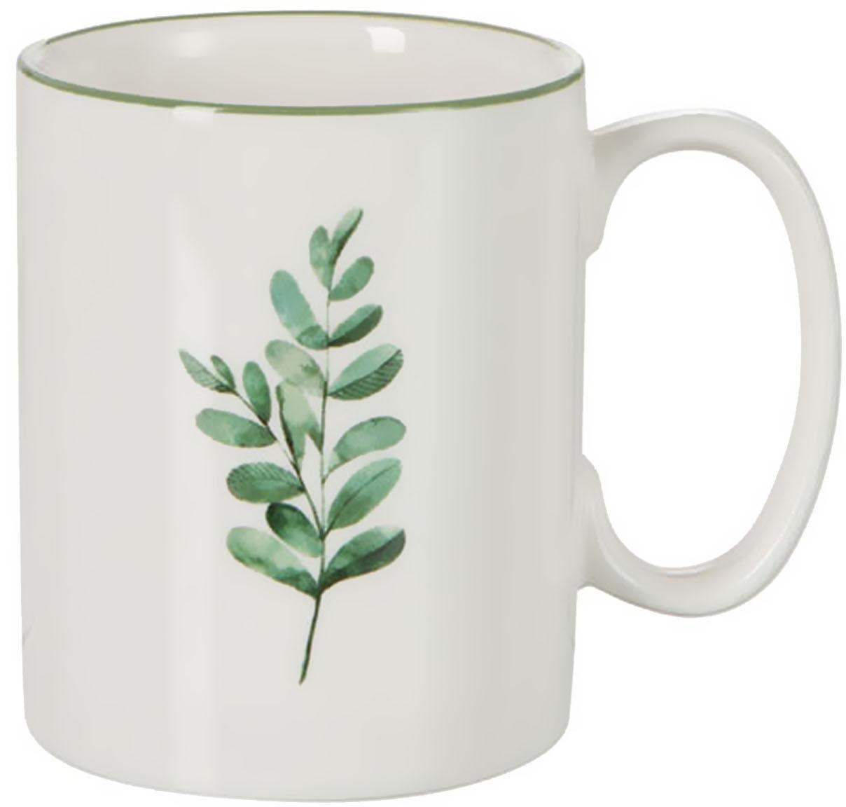 Tassen Eukalyptus mit Blatt-Motiv, 6 Stück, New Bone China, Weiss, Grün, Ø 8 cm