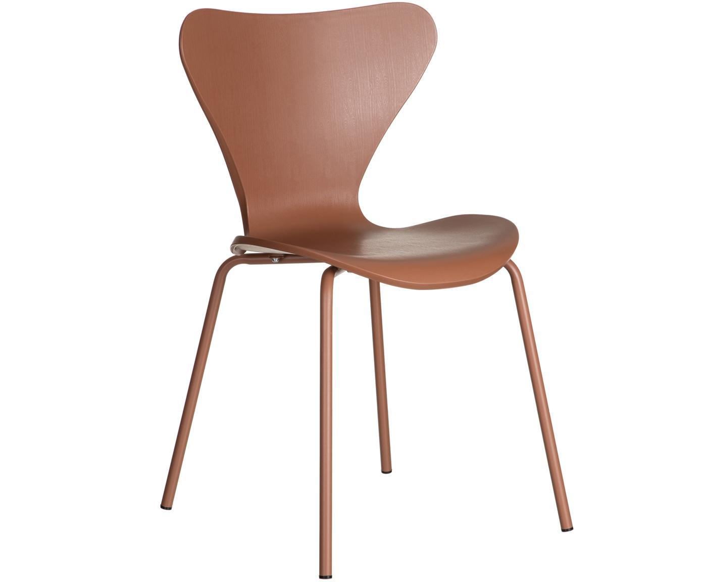 Krzesło z tworzywa sztucznego Pippi, 2 szt., Polipropylen, metal, Brązowy, S 50 x G 47 cm