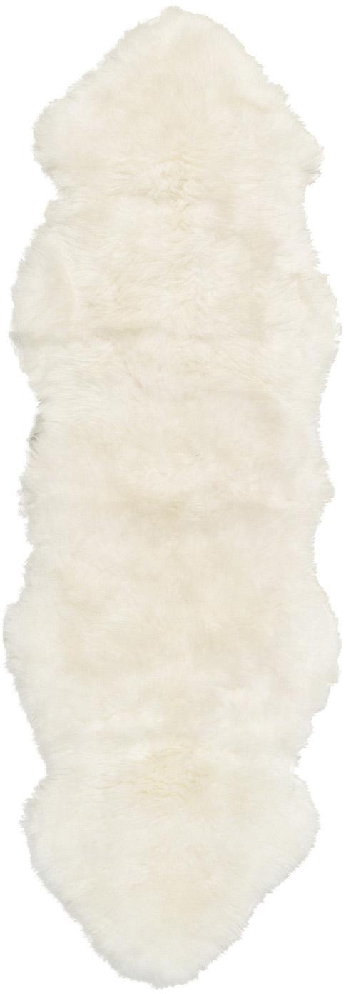 Tappeto in pelliccia di pecora Oslo, Retro: 100% pelle, rivestito sen, Avorio, Larg. 60 x Lung. 180 cm