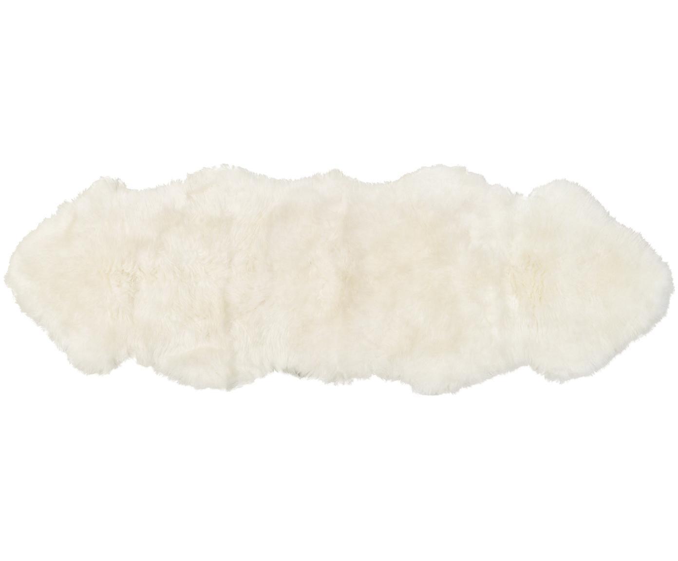 Vloerkleed van schapenvacht Oslo, glad, Bovenzijde: 100% schapenvacht, Onderzijde: 100% leer, chroomvrij gel, Crèmewit, 60 x 180 cm