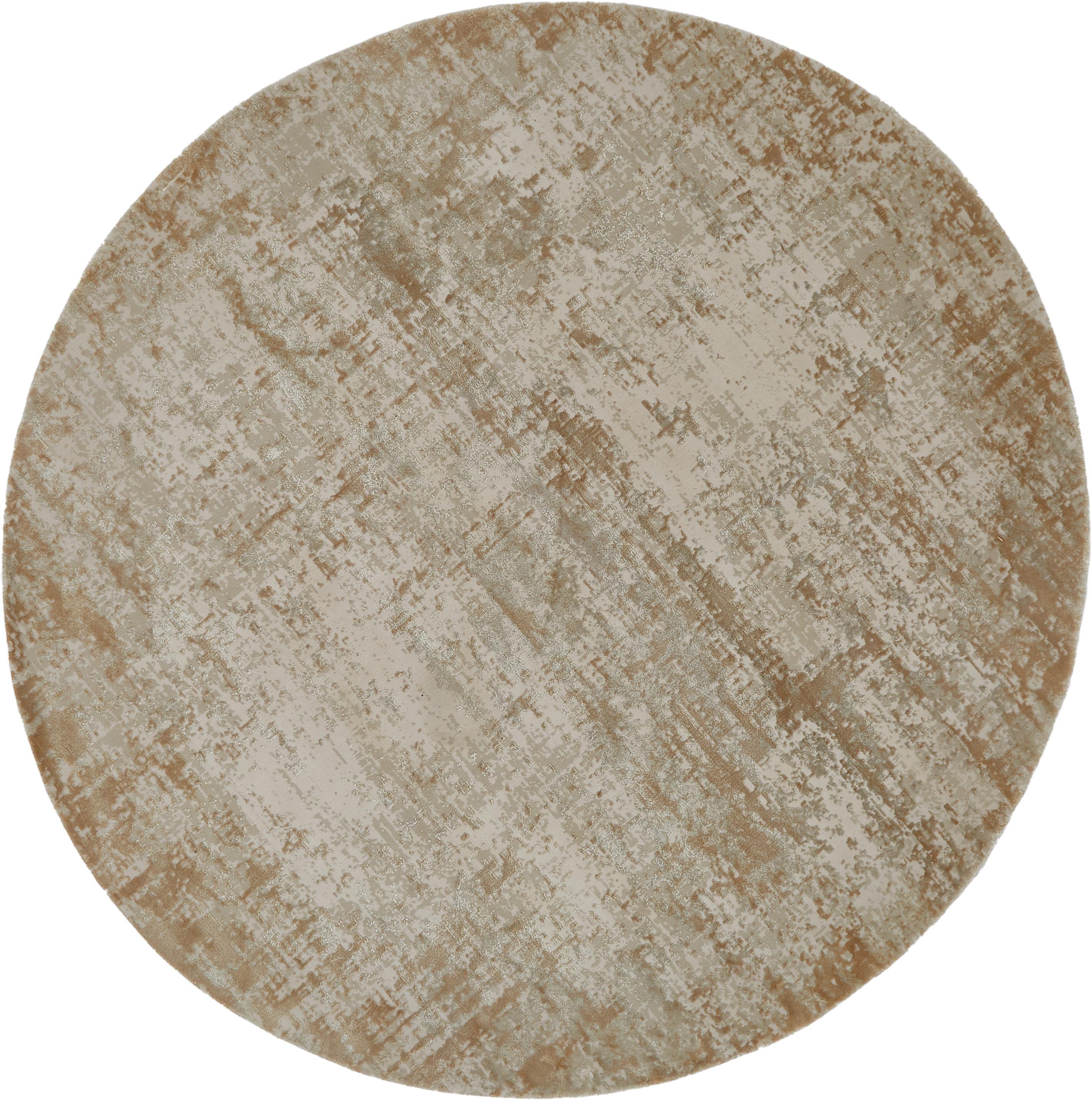 Runder Vintage Teppich Cordoba, schimmernd, Flor: 70% Acryl, 30% Viskose, Beigetöne, Ø 150 cm (Größe M)