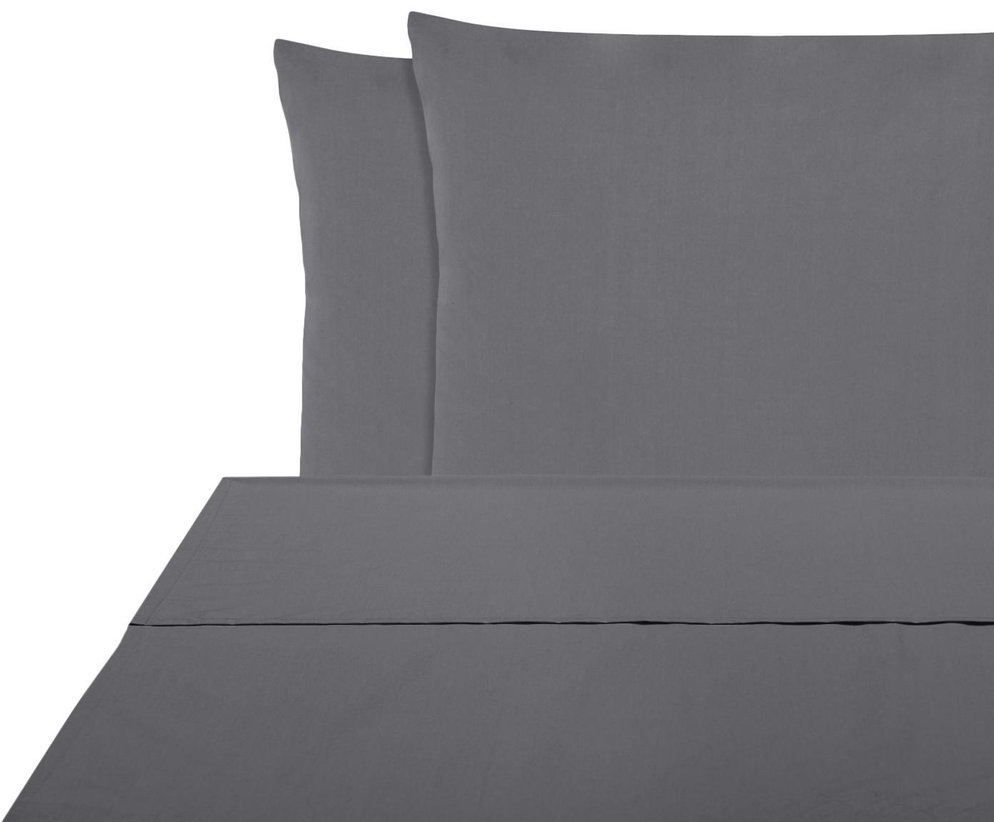 Set lenzuola in percalle Elsie 2 pz, Tessuto: percalle Densità del filo, Grigio scuro, 240 x 300 cm